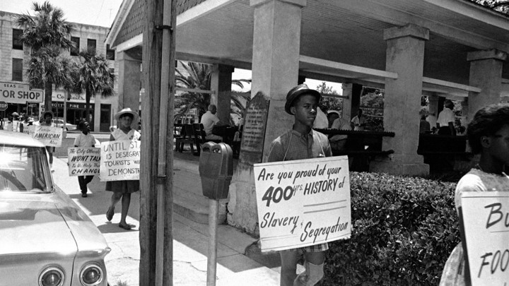 A daytime protest on June 11, 1964, of the slave market in St. Augustine, Florida. Credit ASSOCIATED PRESS