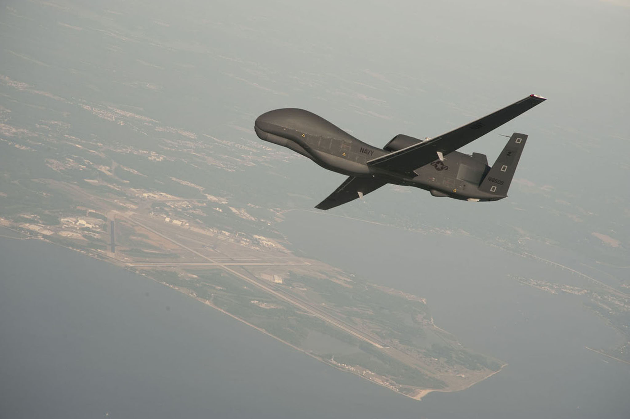 A drone test flight over Naval Air Station Patuxent River, Maryland, in 2010. Credit Erik Hildebrandt/EPA, via Shutterstock