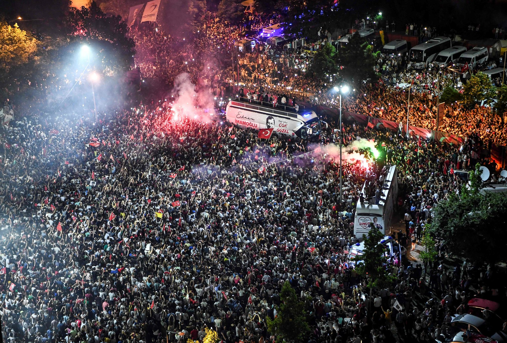 Thousands gathered to celebrate after the opposition candidate, Ekrem Imamoglu, emerged as winner of the repeat mayoral election in Istanbul on Sunday. Credit Agence France-Presse — Getty Images