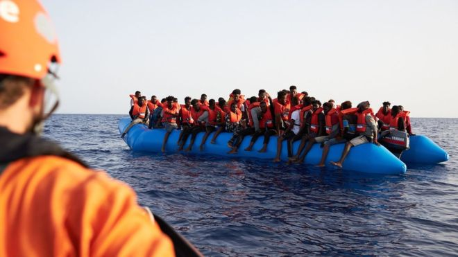 Migrants often make the perilous journey from Libya to Europe in overcrowded boats, like this one pictured in early July. AFP