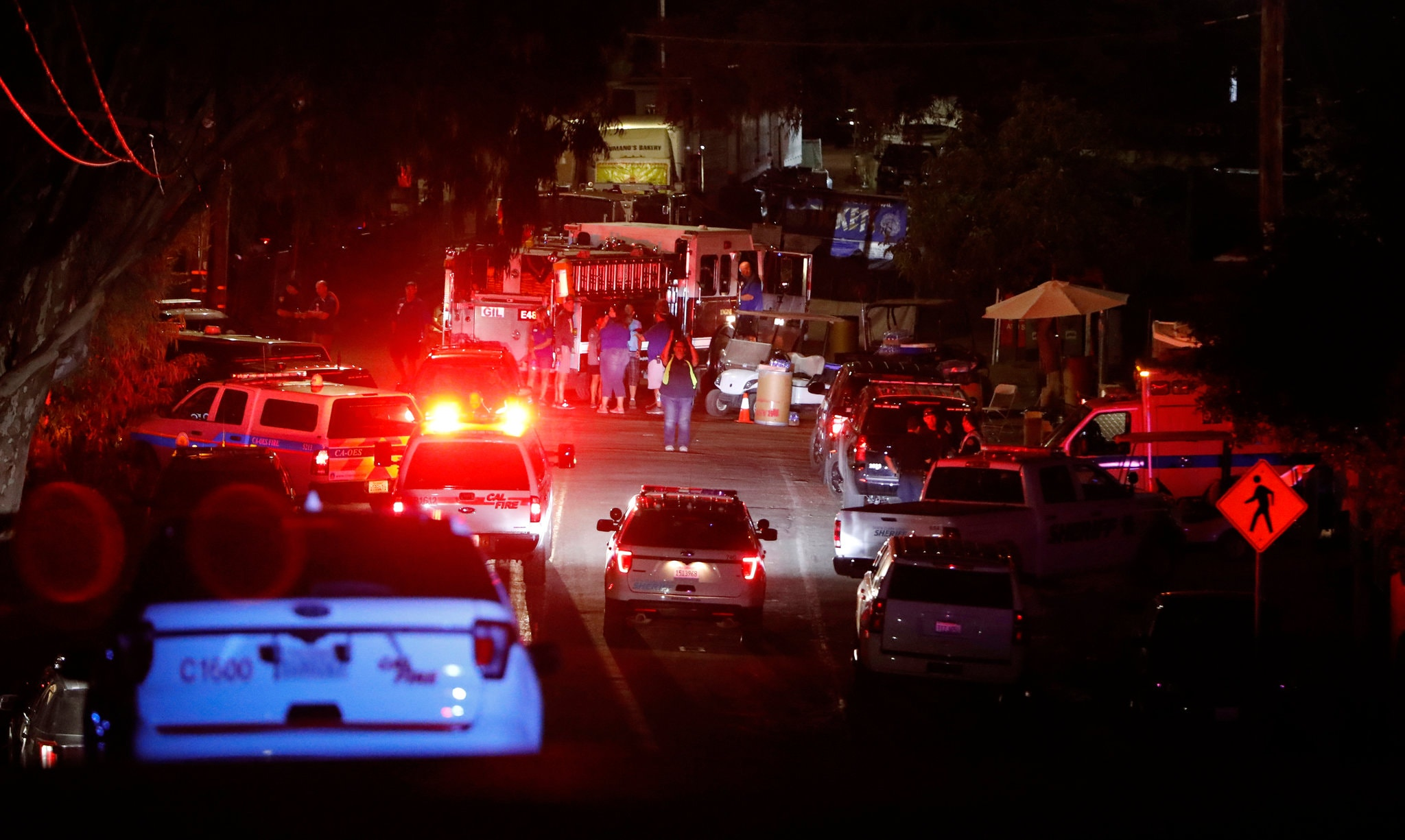 Emergency responders at the scene of a shooting at the Gilroy Garlic Festival in California on Sunday. Credit Nhat V. Meyer/San Jose Mercury News, via Associated Press