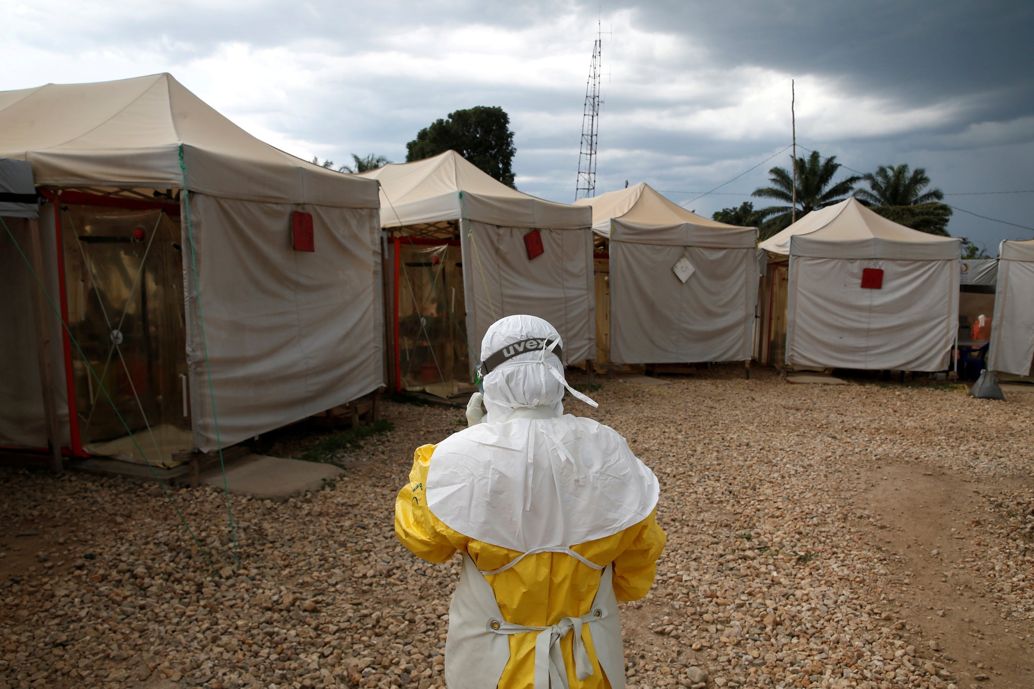 A health worker wearing Ebola protection gear at a Biosecure Emergency Care Unit treatment center in Beni, Democratic Republic of Congo. Credit Baz Ratner/Reuters