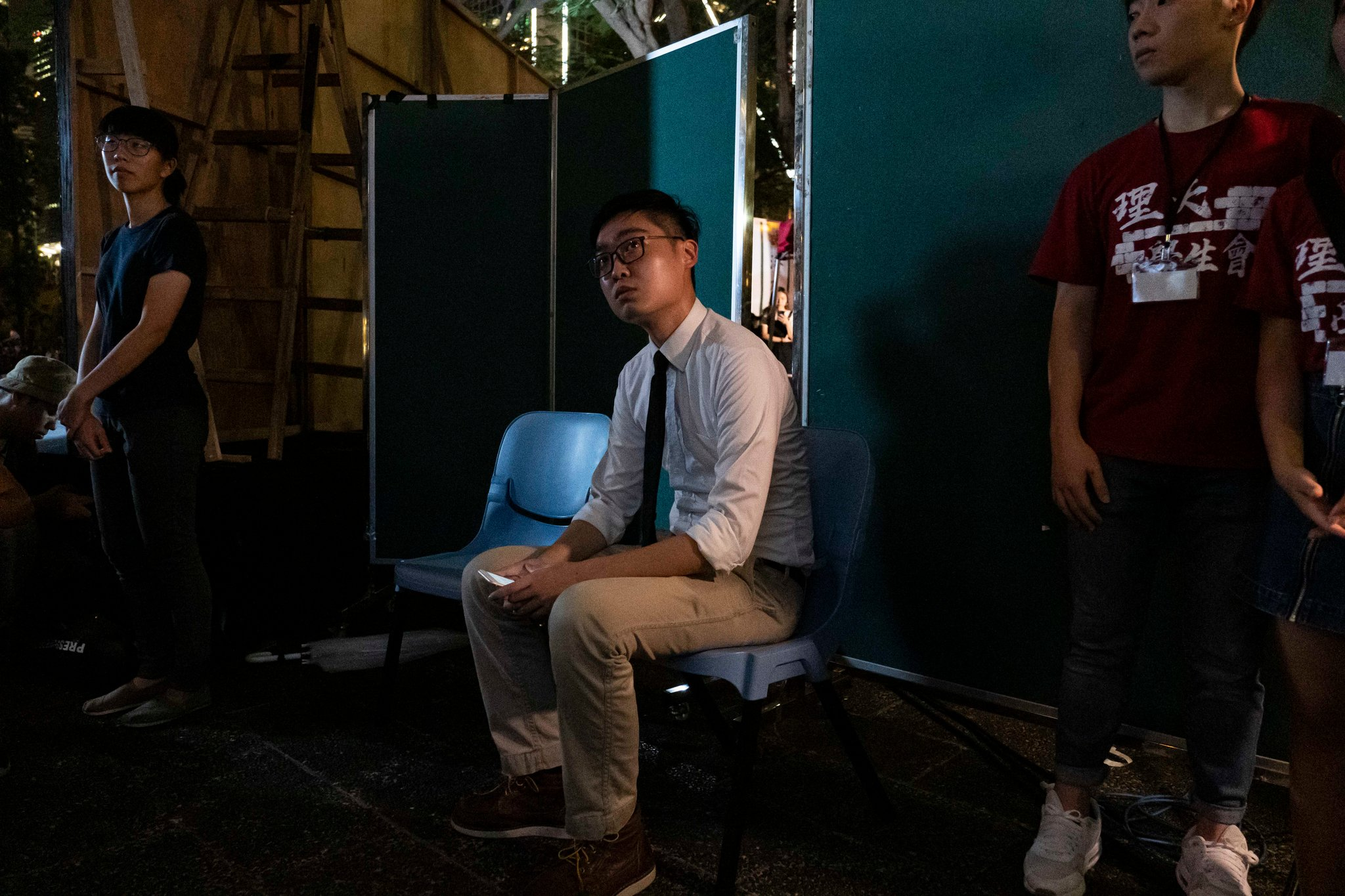Andy Chan, who led the now-banned Hong Kong National Party, preparing to speak at a rally in Hong Kong earlier this month. Credit Lam Yik Fei for The New York Times