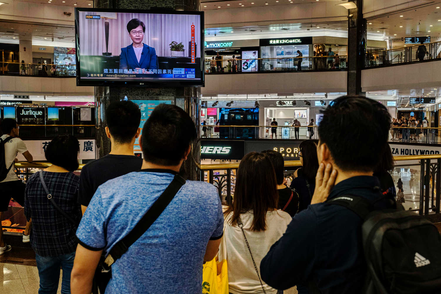 Hong Kong's chief executive, Carrie Lam, gave a televised statement on Wednesday in which she said she would withdraw the contentious extradition bill. Credit Lam Yik Fei for The New York Times