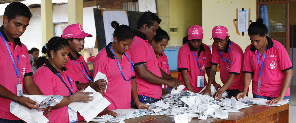 Polling officers tally votes after ballots were cast in Timor-Leste's parliamentary elections (2012). UN Photo/Martine Perret