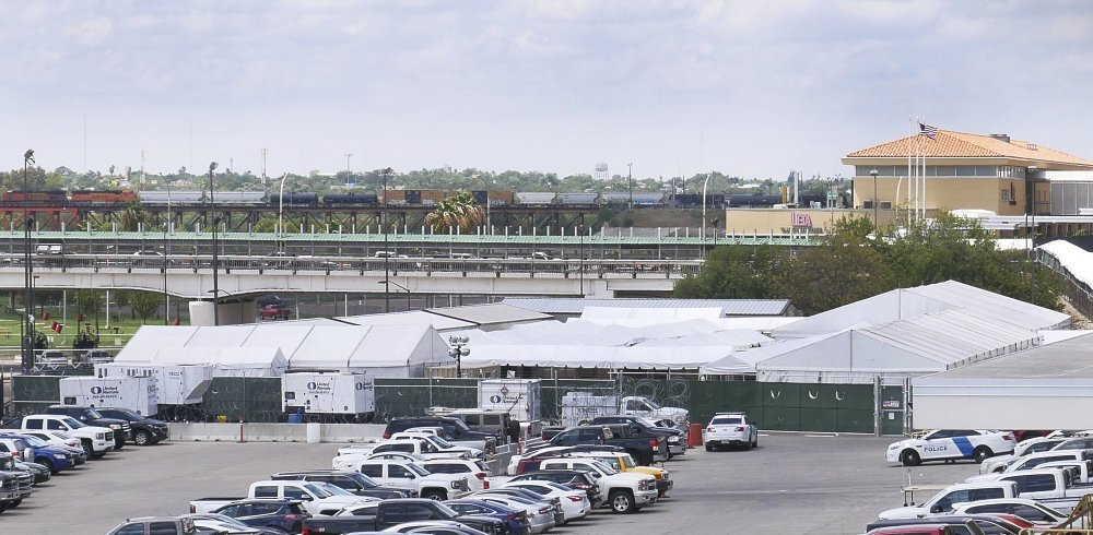 Located a short distance from the Rio Grande, the Migrant Protection Protocols Immigration Hearing Facilities in Laredo, Texas, are adjacent to the Gateway to the Americas International Bridge. Hearings for immigrants seeking asylum are set to begin Monday, September 16, 2019. (Ricardo Santos/The Laredo Morning Times via AP)
