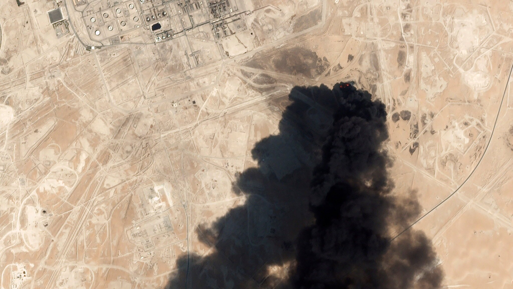 A satellite image of smoke rising from a plant in Abqaiq, Saudi Arabia, on Saturday. Credit Planet Labs Inc, via Associated Press