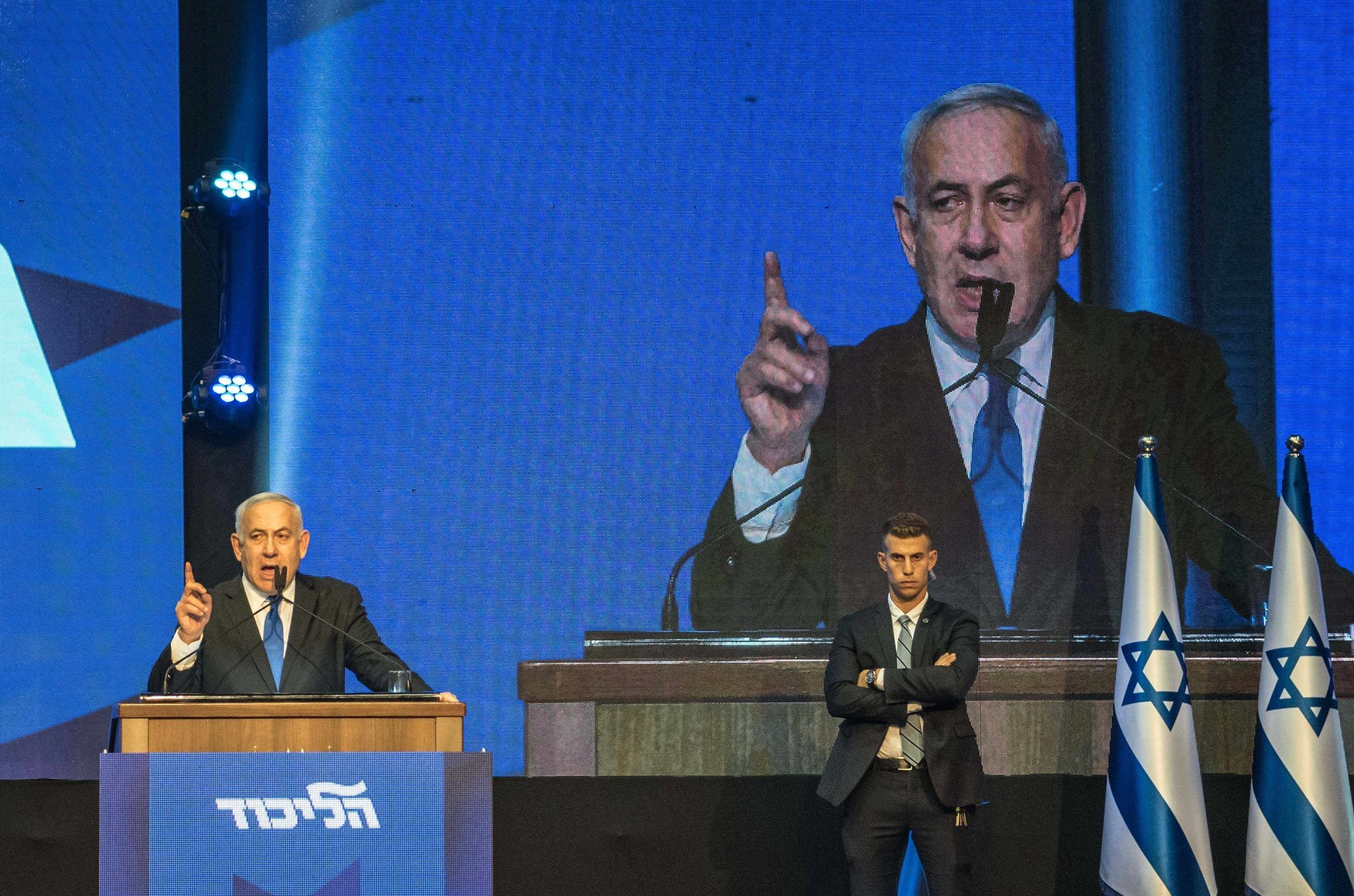 Prime Minister Benjamin Netanyahu of Israel addressing supporters at his Likud party's campaign headquarters early Wednesday. Credit Sergey Ponomarev for The New York Times