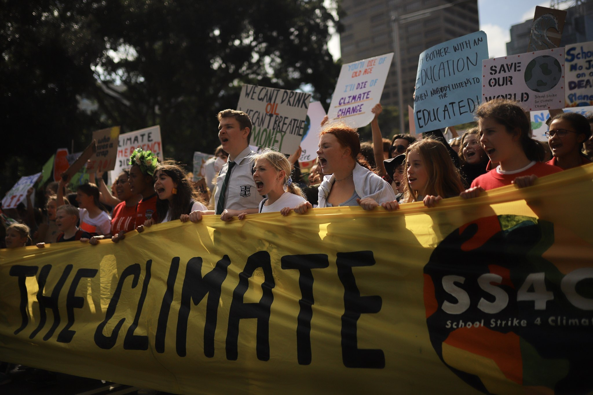 Protesters at the climate demonstration in Sydney. Credit Steven Saphore/EPA, via Shutterstock