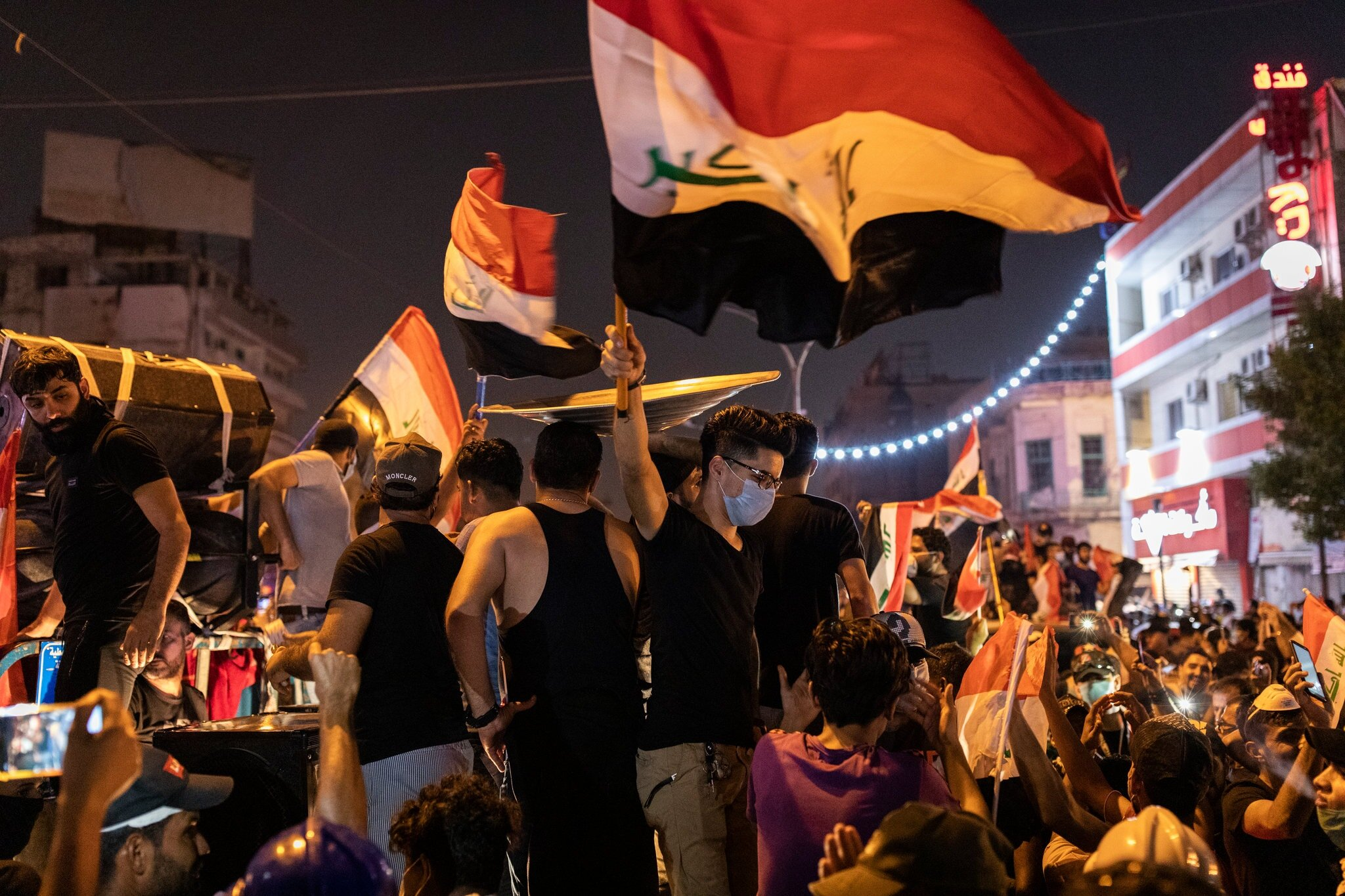 Protesters filled the streets around Tahrir Square in Baghdad last Monday. Credit Ivor Prickett for The New York Times