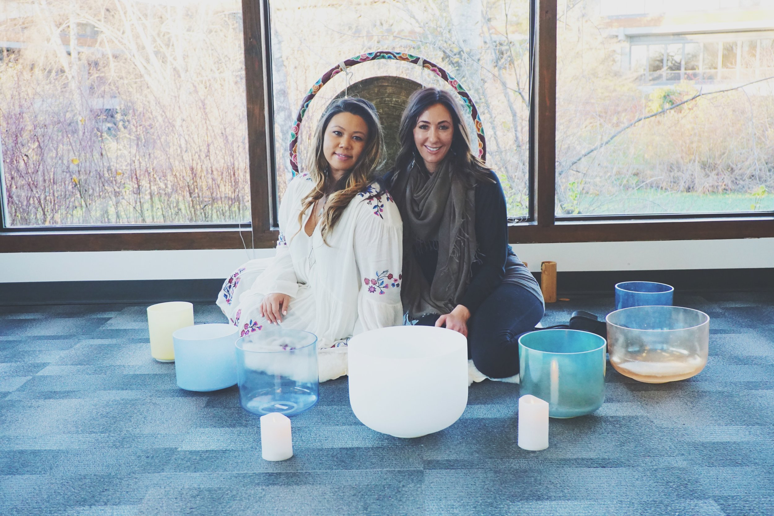 Jamie Cabaccang, Techies + Wellness Founder and Reiki Master (left) & Andrea Snetsinger, Sound Healer (right)