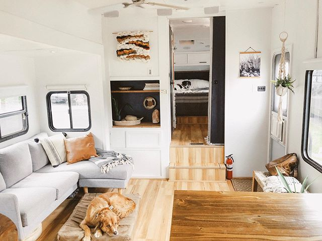 """🥳😲Before/After renovation!  It's officially been ONE YEAR since we've moved in! I remember when I started doing research on this lifestyle two years ago... the best advice I found from full time RVers was this: . Don't quit RVing during your first year. It's going to be hard and you'll learn a lot — so don't give up quickly, give it a year! After your first year it'll be so much easier and you'll enjoy much more."""" .  This is 100% the truth. I'm so proud of all of the hard work we've done to make all of this happen.  We are just so DAMN grateful for this little home of ours that has allowed us to experience places this year that we never even dreamed of. ✨"""