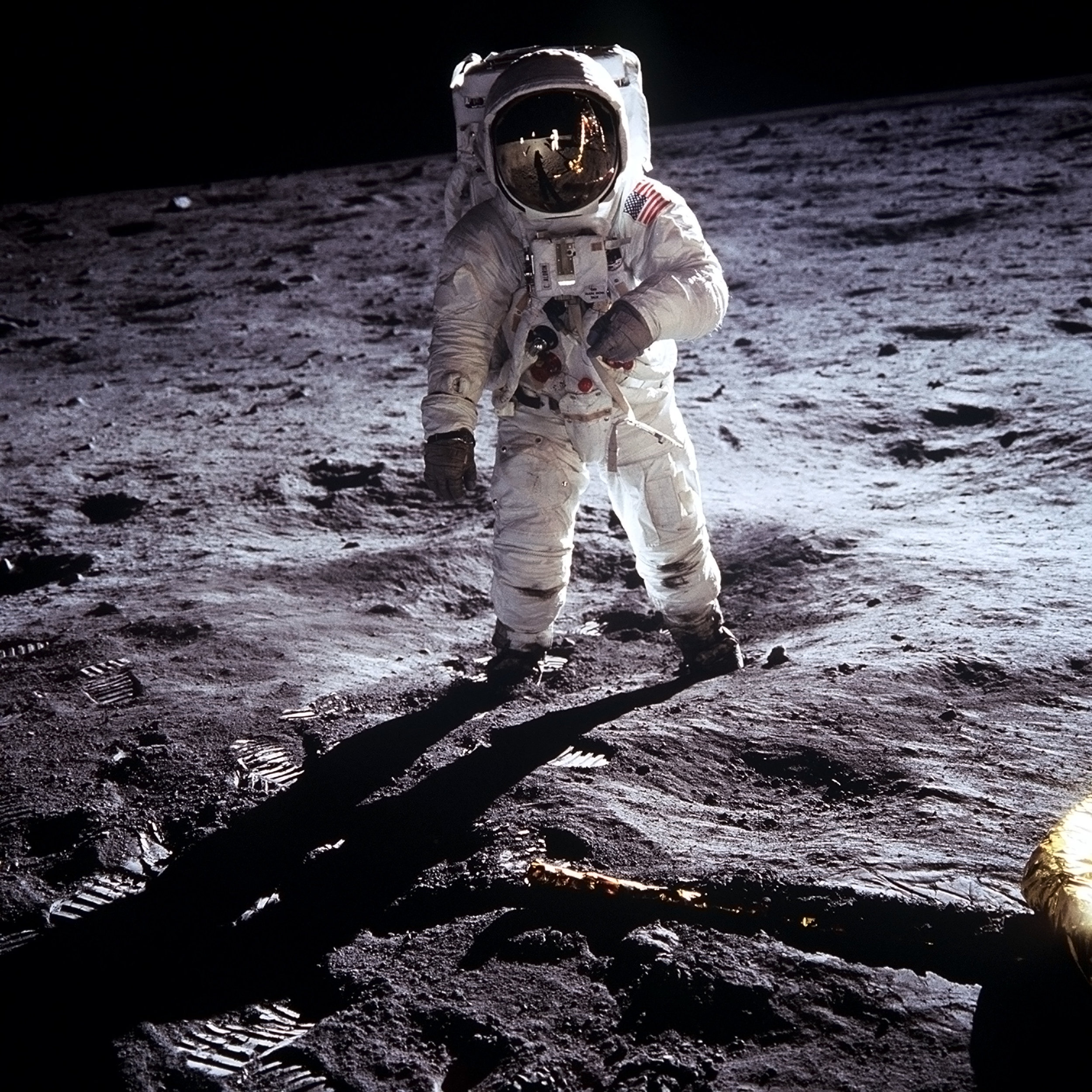 Apollo 11 astronaut Buzz Aldrin by Neil Armstrong, Sea of Tranquility, Moon, 1969