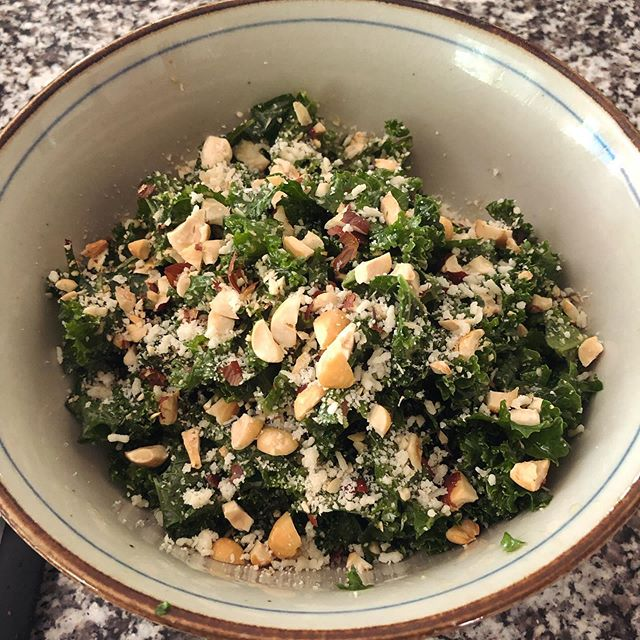 "Today I stink at recording training demos, but excel at making a tasty kale salad. I guess this is what they mean by ""balance""? 🥗⚖️"