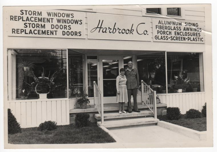 Edward and Dot Brooks in front of Harbrook Co. in Scotia, 1976.