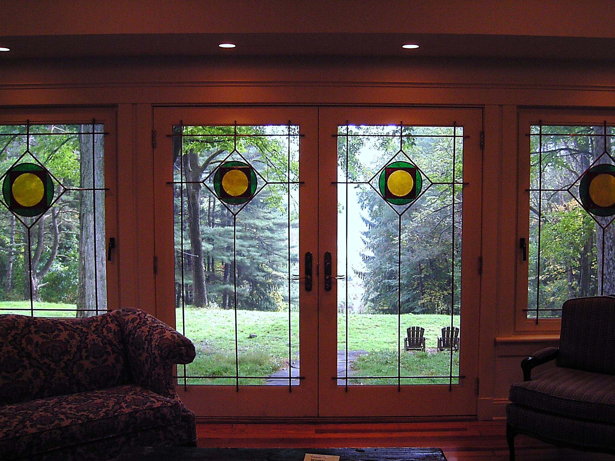 Custom French Doors with art glass