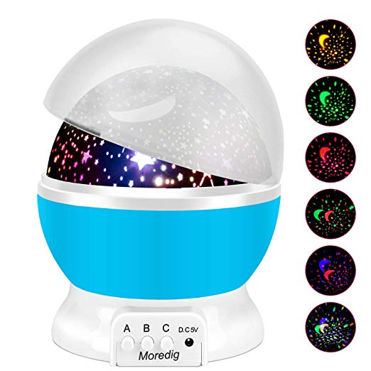 Projection Night Light - My younger sister bought my niece this night light for Christmas. My son took one look at her room light up by it and he was obsessed. I knew I had to buy it for him. It comes equipped with a variety of colors, styles and speeds.