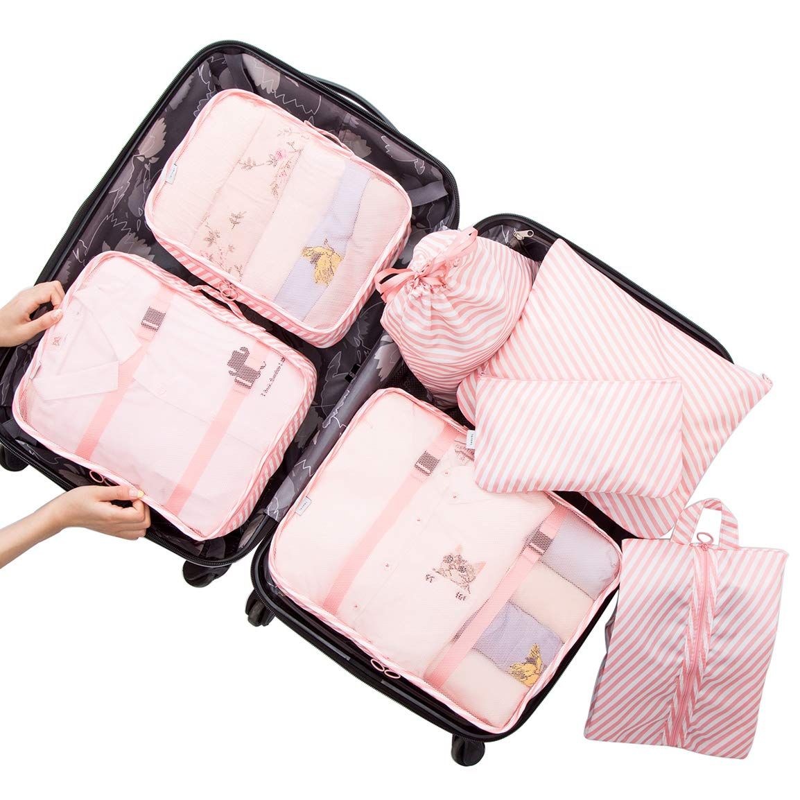 Belsmi 7 Set Packing Cubes With Shoe Bag - I've heard dozens of members of the planner community rave about the benefits of packing cubes so I decided to finally give them a try. Me being me, I couldn't get some plain boring cubes though. I ordered these classic pink and white striped cubes and while they're not compression level like they claim they're very functional and definitely get the job done. I highly recommend these cubes.