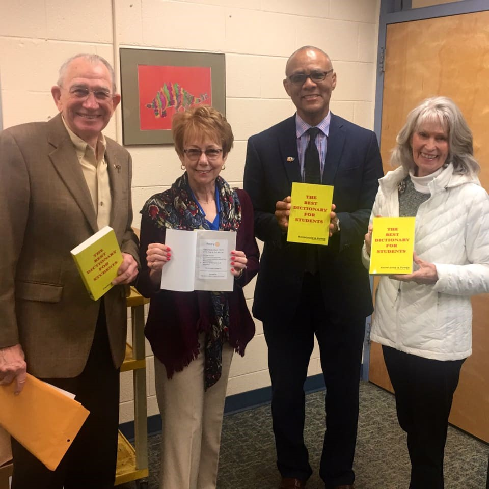 dictionaries - Ron, Neva, Chet and Dixie at Laurel Lane Elementary School