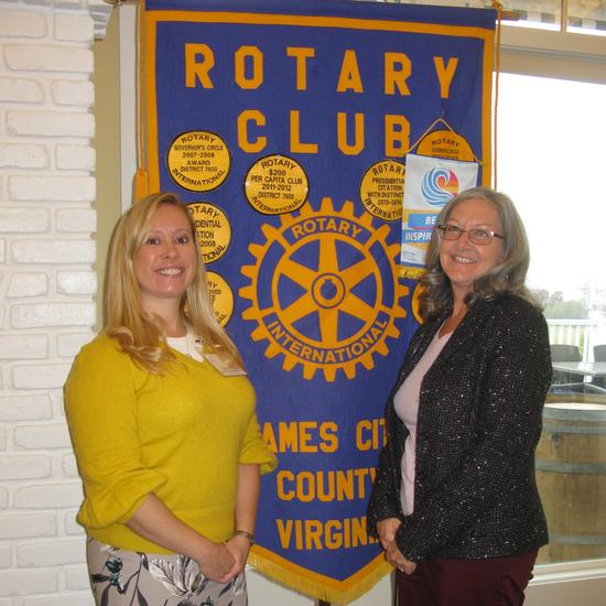 speaker focus - Sara Ruch, JCC Deputy Emergency Manager, addressed the JCC Rotary Club, outlining County emergency programs. On the left is Sara Ruch, on the right is Nancy Nunn, Rotary Program Chair.