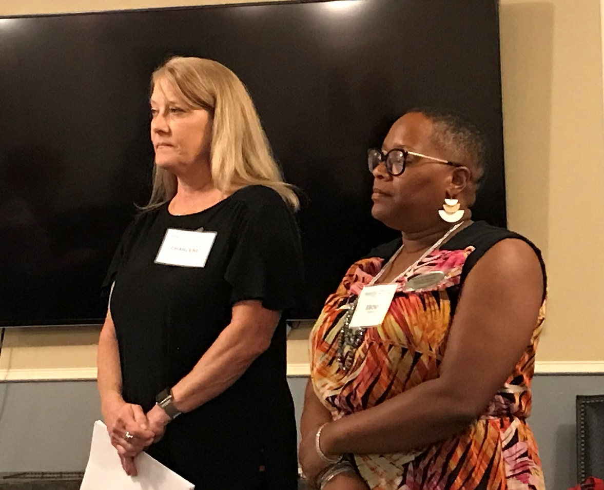 new member induction - Welcome to Charlene Polk and Ebony Nickens! A subcontracts manager and home health care small business owner, they are a great addition to increase this club's impact across the community.