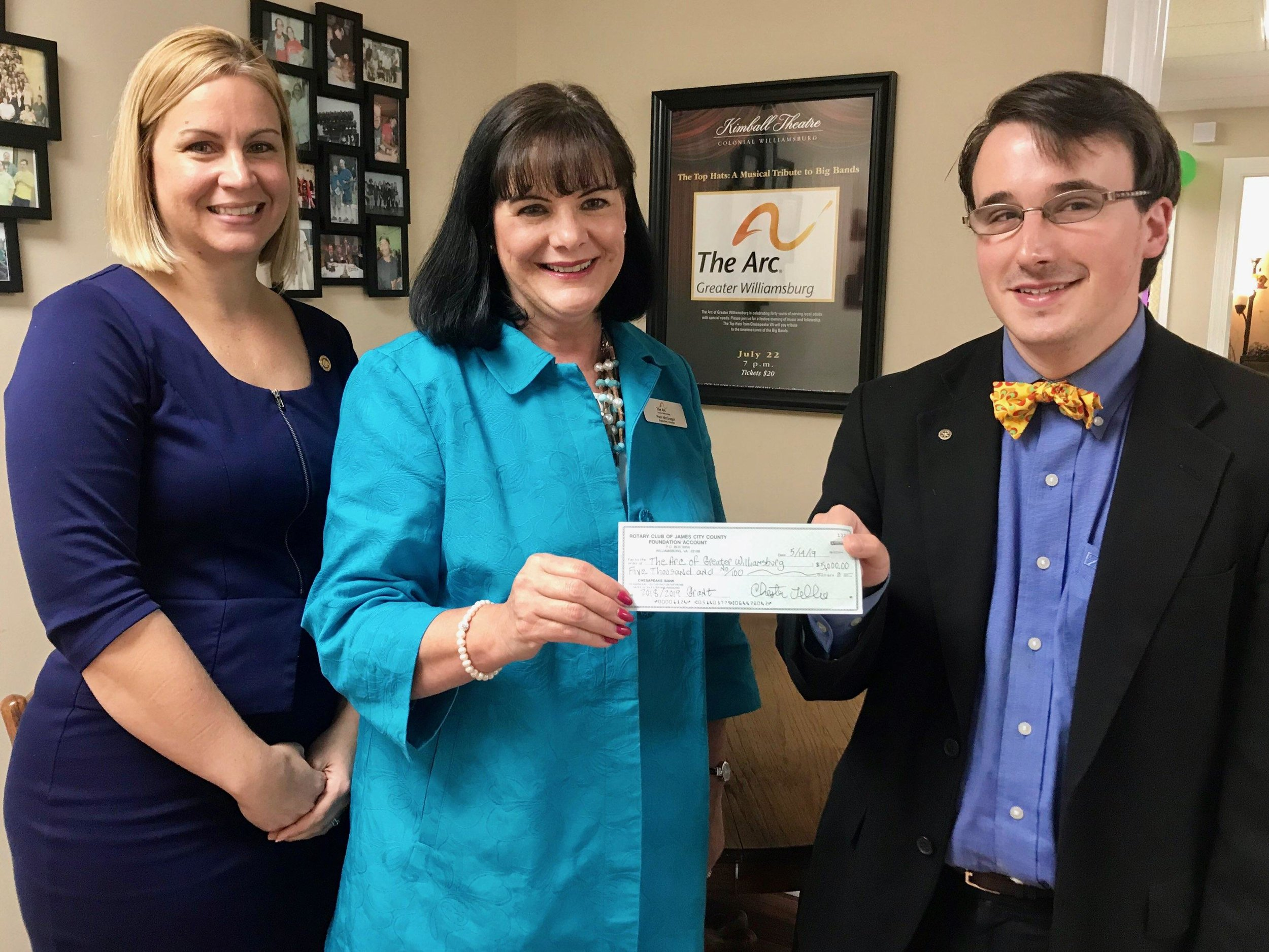 ARC support - Our Club was pleased to provide The Arc of Greater Williamsburg with $5,000 to help fund their client transportation program. This program enables their clients to be employed in Williamsburg.