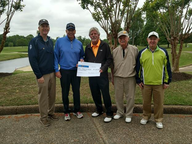 Our Rotary club golf team presenting check for $1,000 to David Saunders, Water For People Golf Tournament Chair. Left to right: Doug Strup, Bill Mutell, David Saunders, Gary Chenault, and Brian Christie