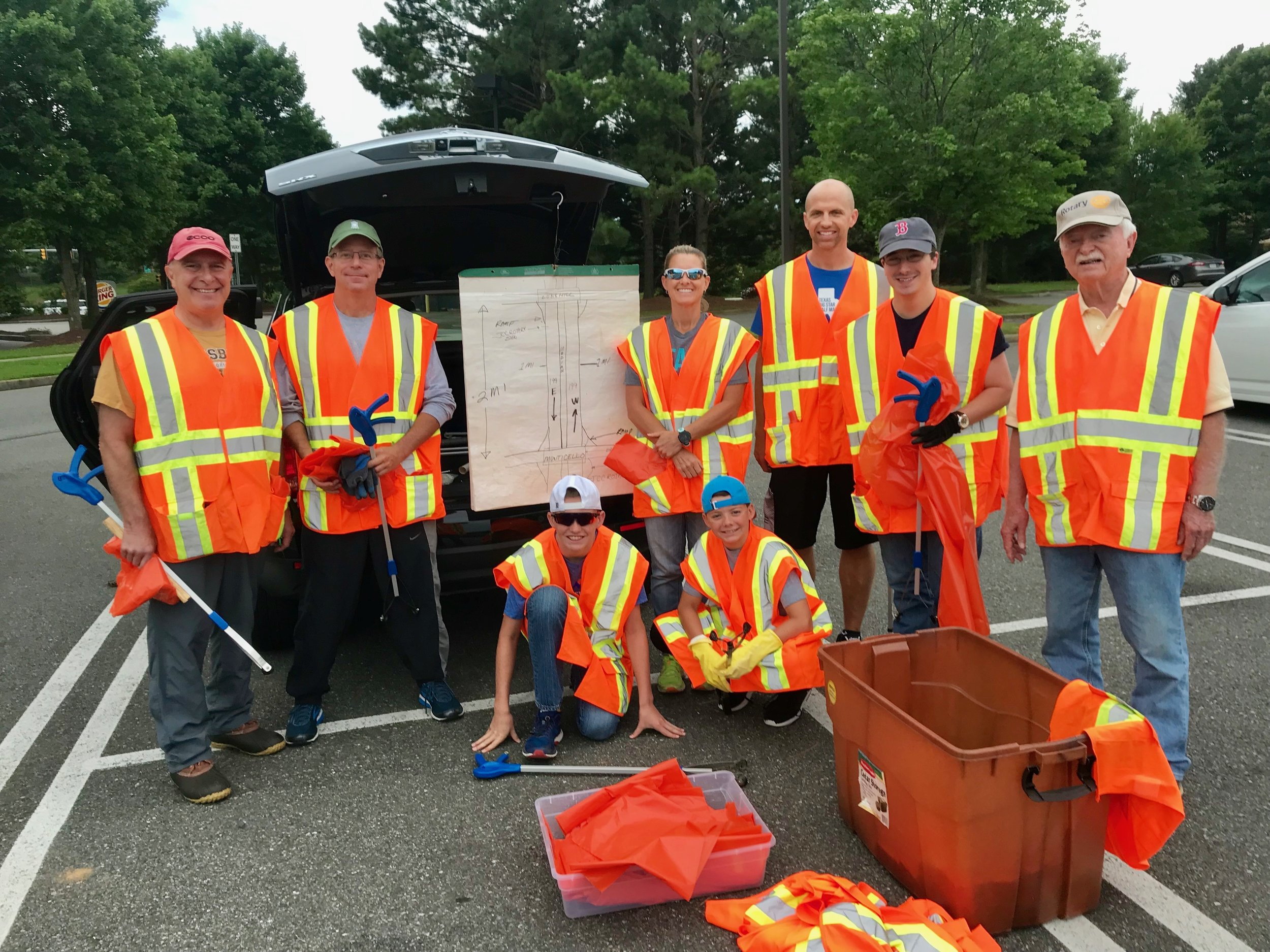 Gary Chenault led a group of Rotarians cleaning up Rt 199 in June. From left to right: Bob, Merritt, Eli (Gary's grandson), Suzy (Gary's daughter), Will (Gary's grandson), Bob (Gary's son-in-law), Grayson, and Gary.