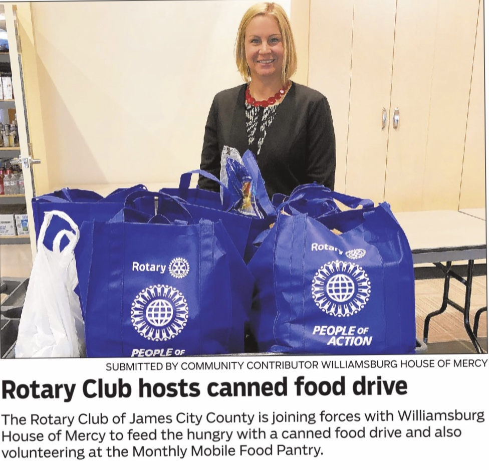 President Sue and our club are proud to support the Williamsburg House of Mercy with their canned food drive!