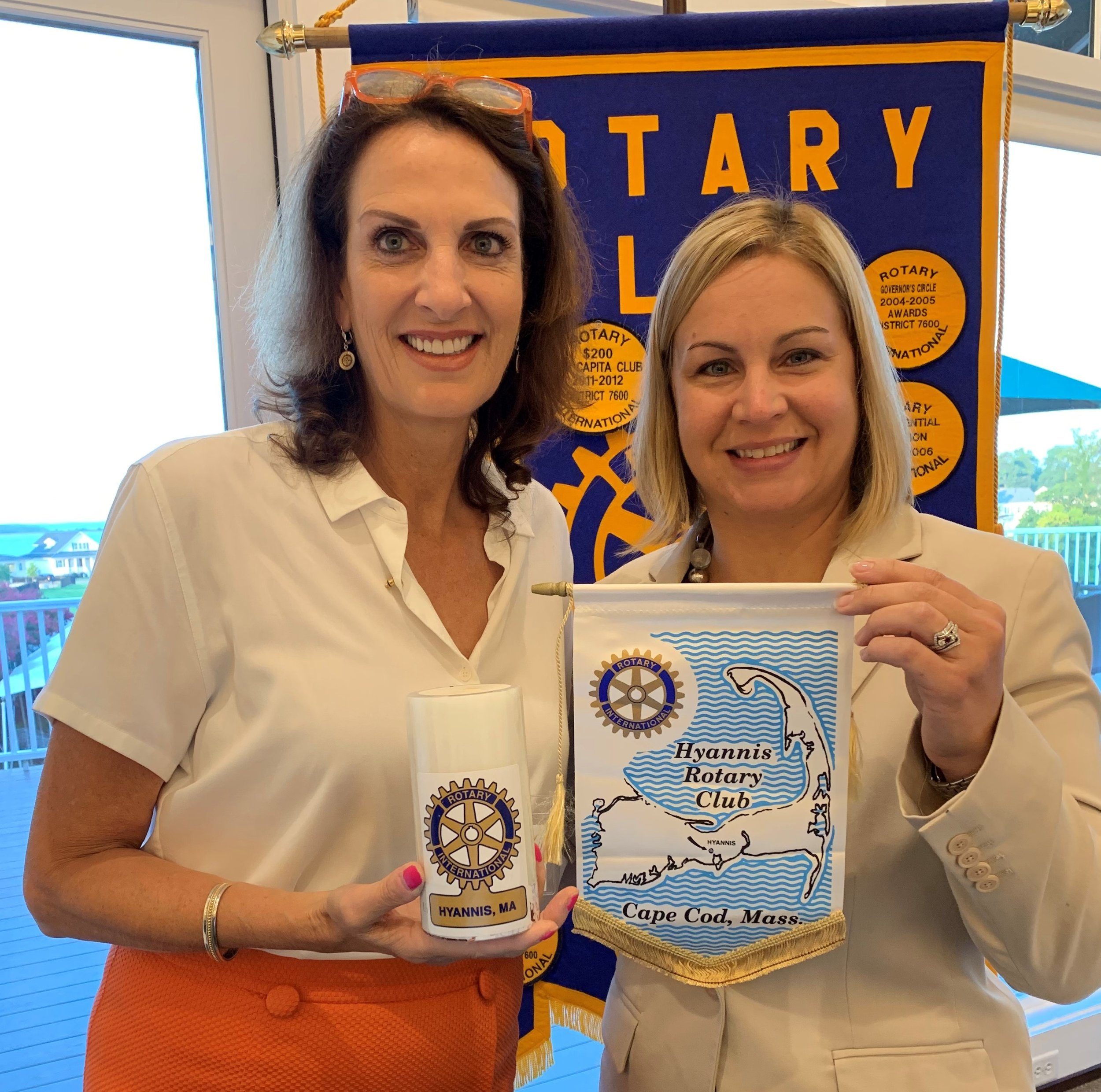 Satellite Club Member Elisabeth Reiss enjoys visiting other Rotary clubs when she travels. In this case, the Hyannis Rotary Club in Cape Cod, Massachusetts.