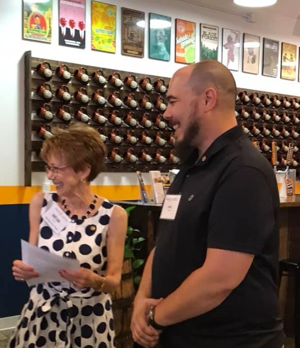 new member - Neva Lynde enjoys a laugh inducting new Satellite Club member Mike Christin on Sept 11, 2019