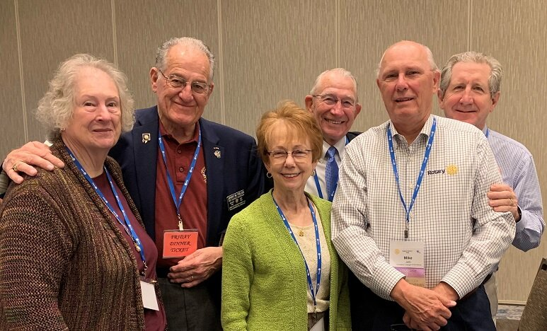 JCC Rotarians Mary Ann Fields, PDG Jerry Fields, Neva Lynde and Ron Lynde collaborated at the D7600 District Conference with Rotarians Mike Jallo and Clay McEldowney, of The Historic Triangle Club. Not pictured was Grayson Moore.