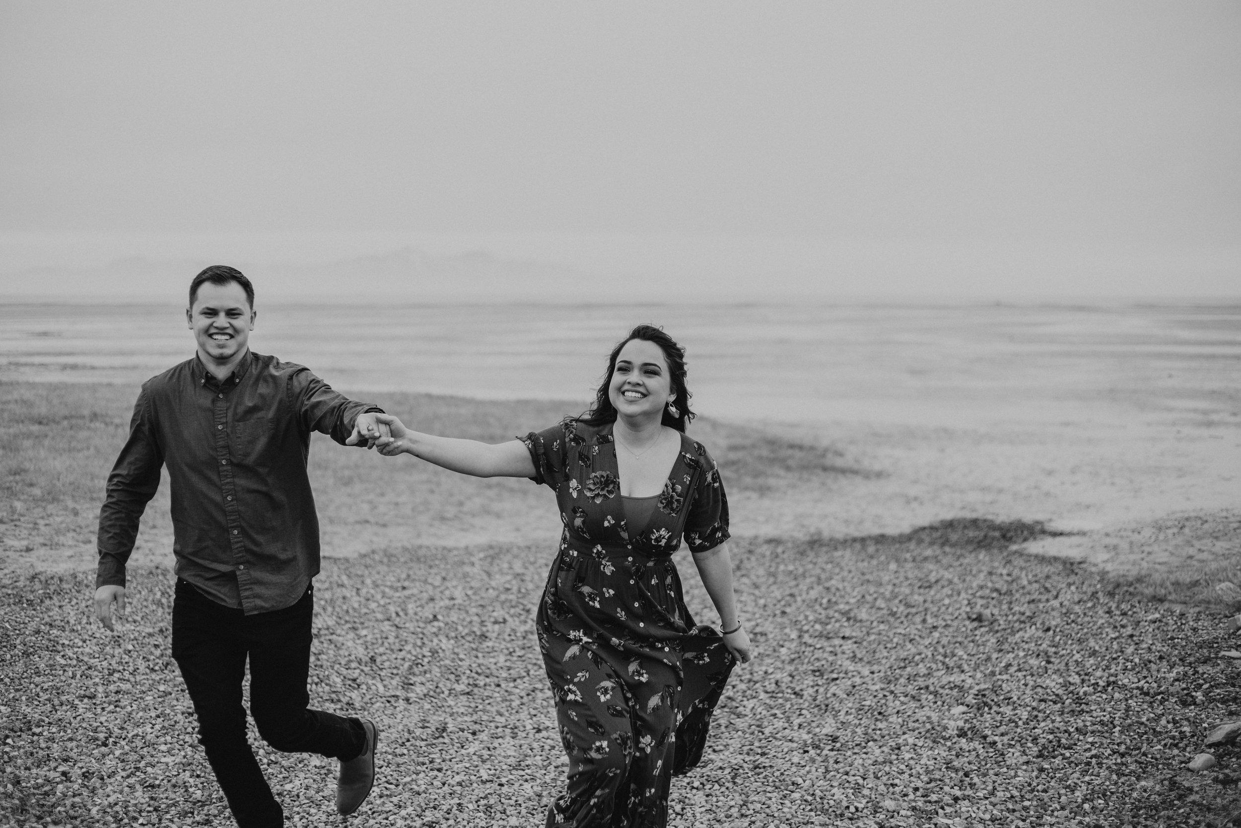 Windy romantic beach engagement photos moody Utah photographer