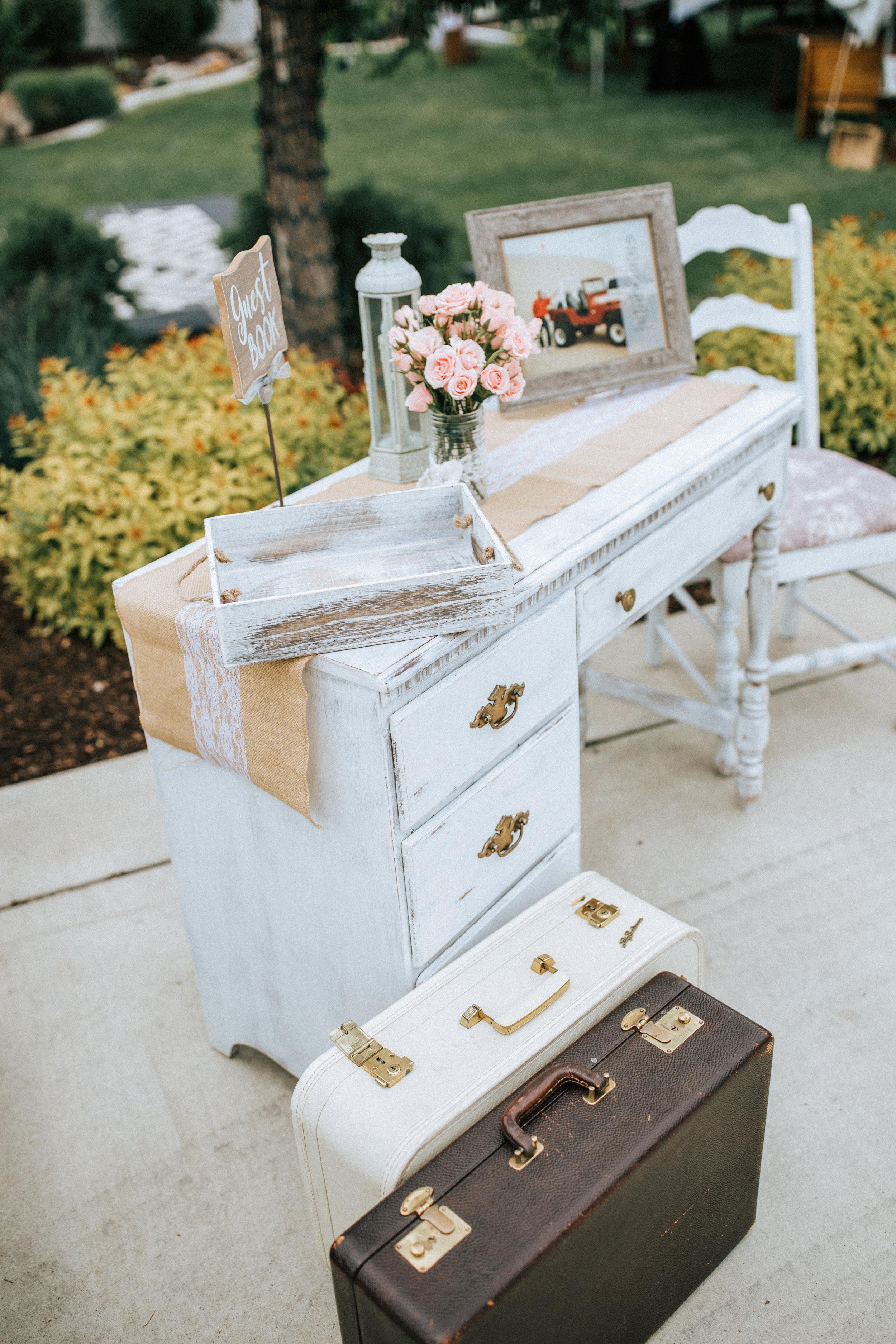 Utah backyard wedding decorations guest sign in