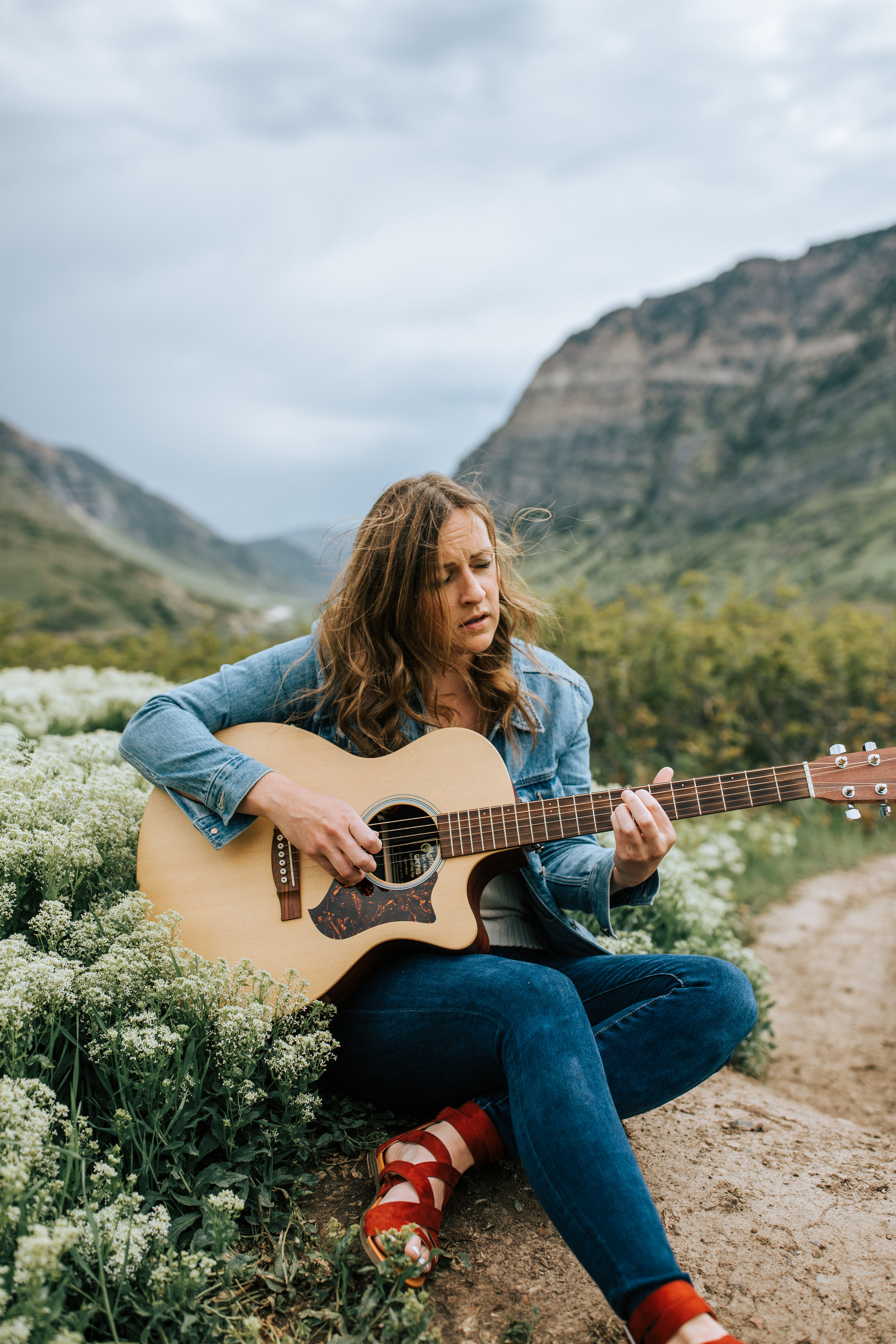 Windy mountain wildflower portraits guitar