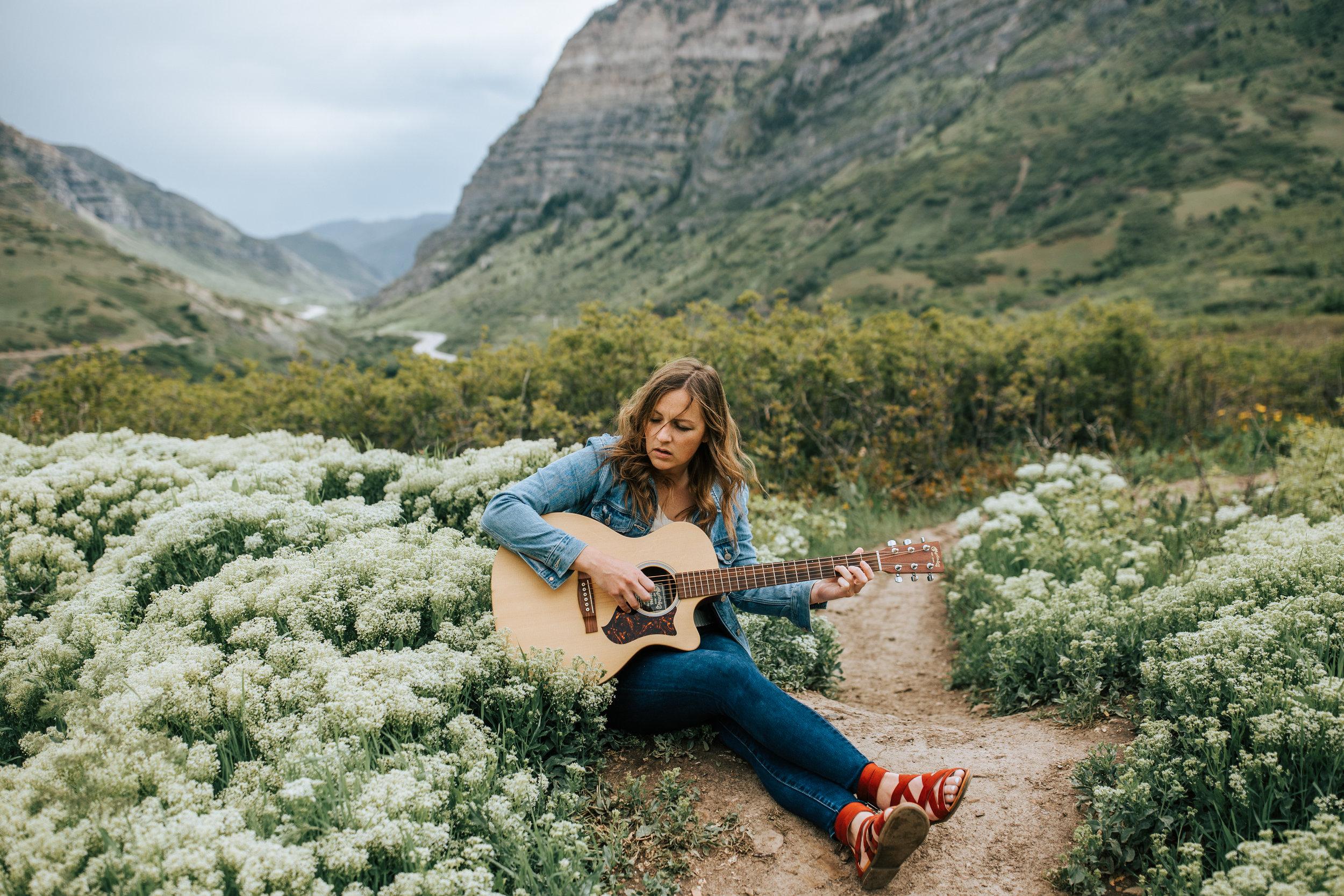Windy Utah mountain wildflower field portraits guitar