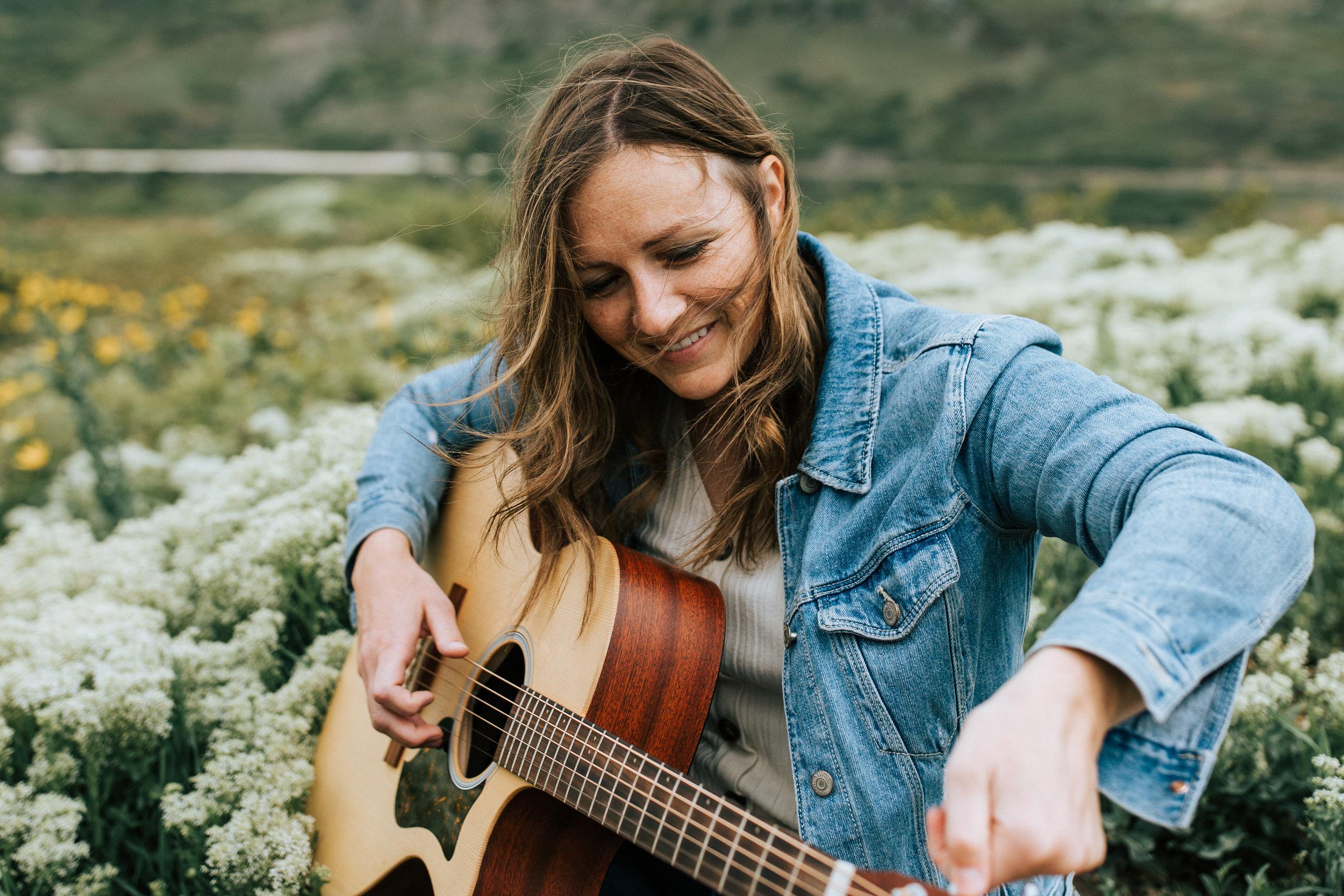 Windy Utah mountain wildflower portraits guitar