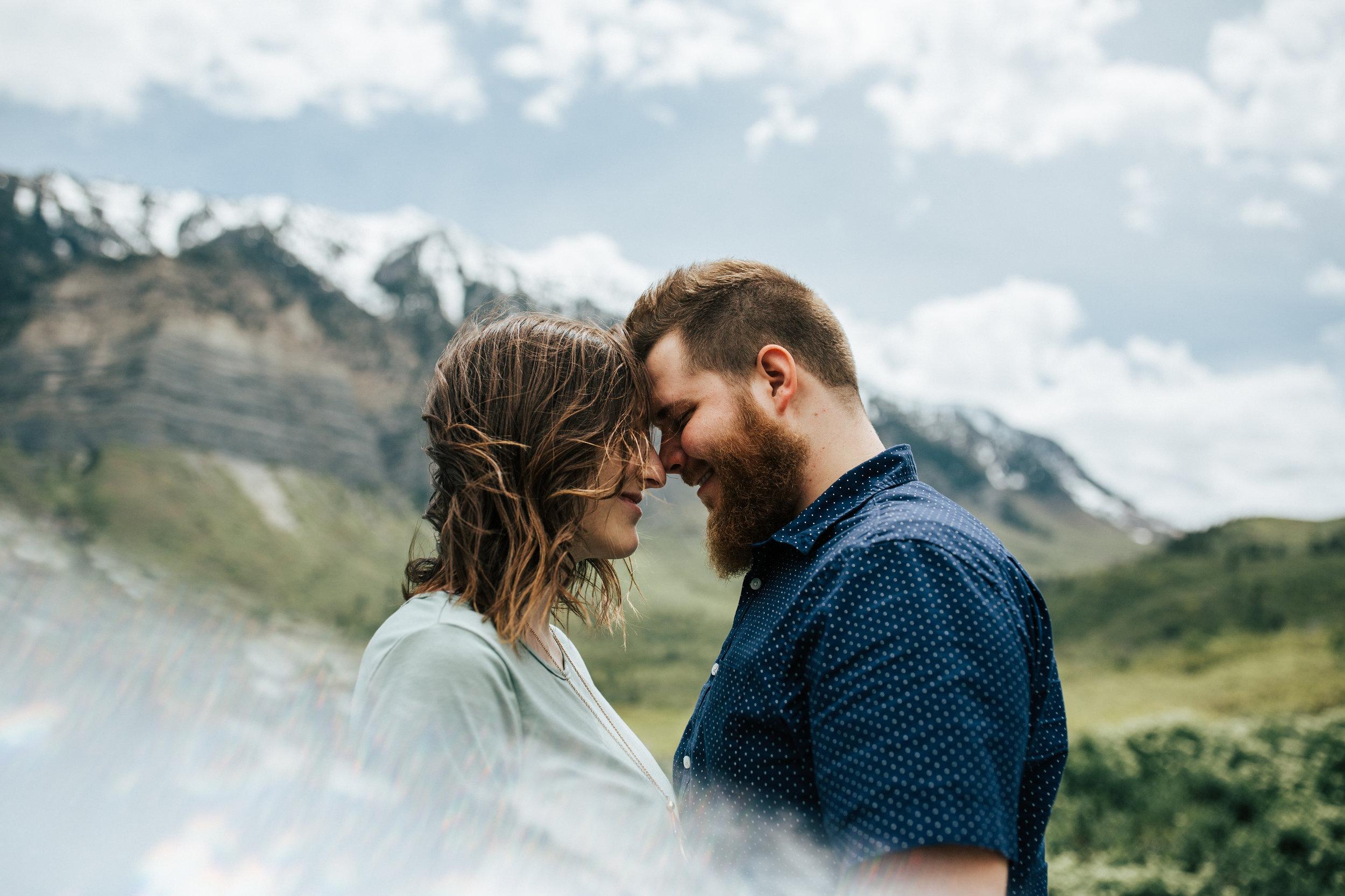 Adventurous mountain couple shoot in Utah windflower field