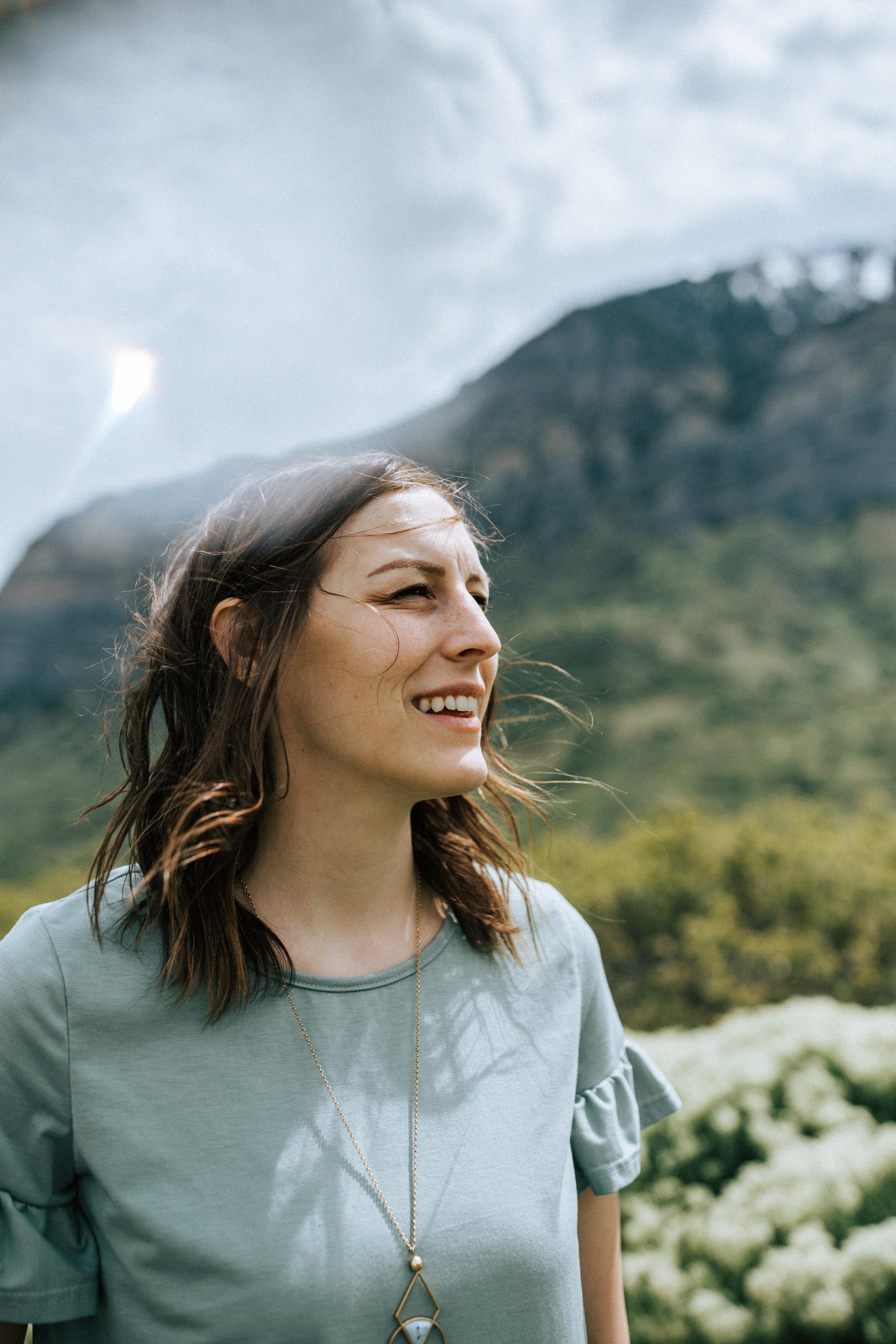 Windy mountain portraits in Utah windflower field