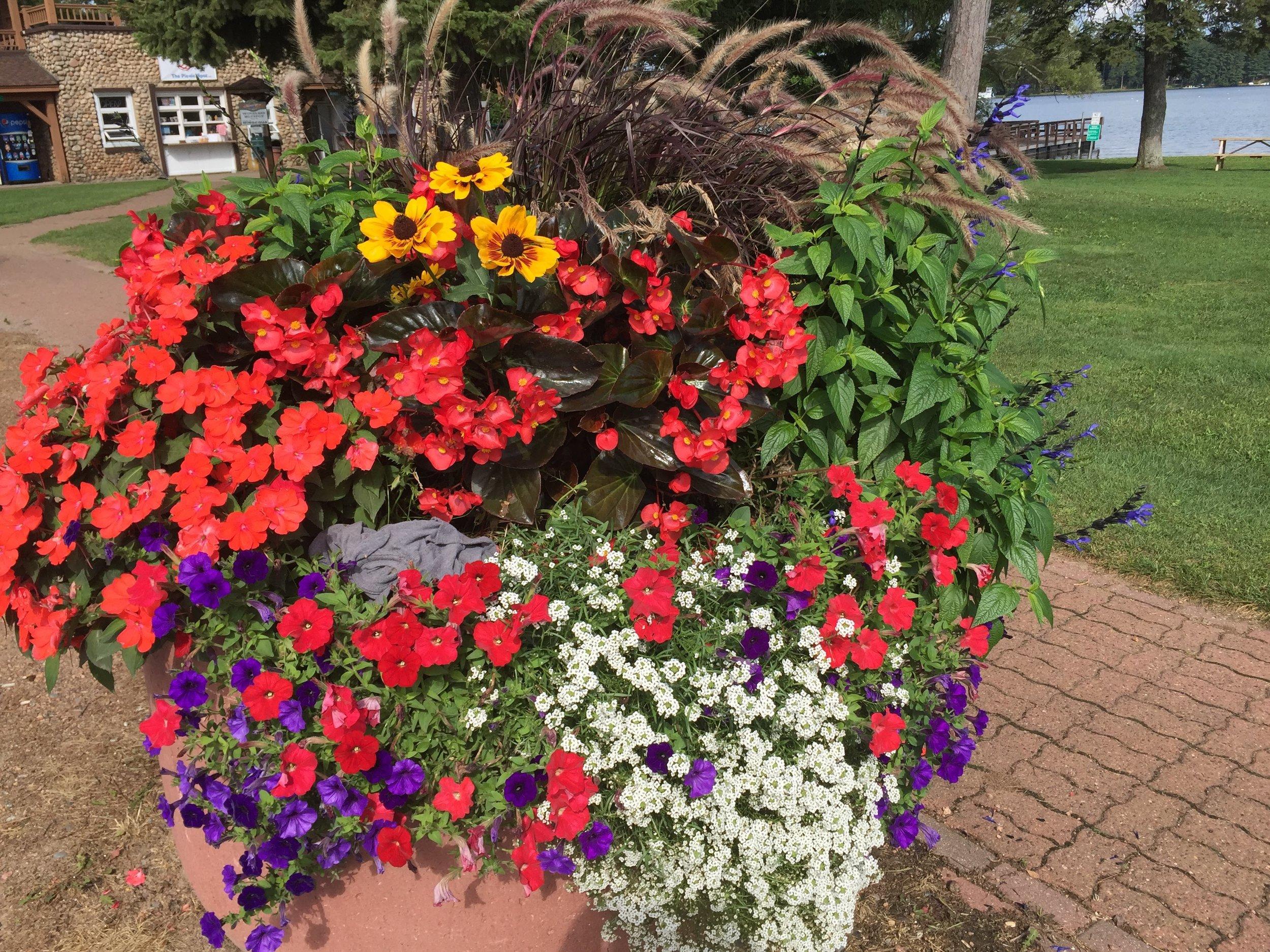 Annual planters in downtown Minocqua