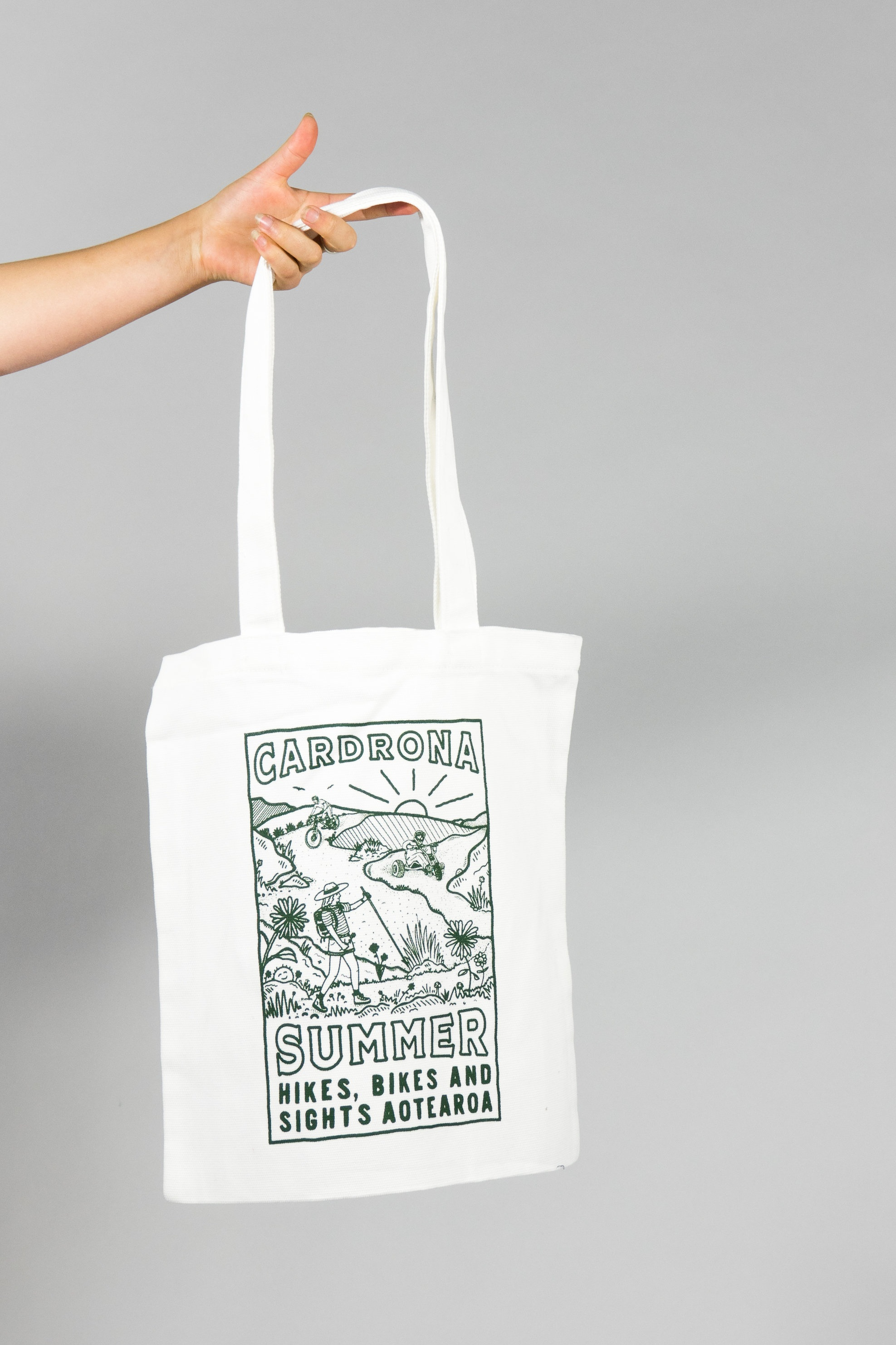 'Hikes, Bikes & Sights' tote bag design. 100% cotton canvas, mid weight, 320 GSM.