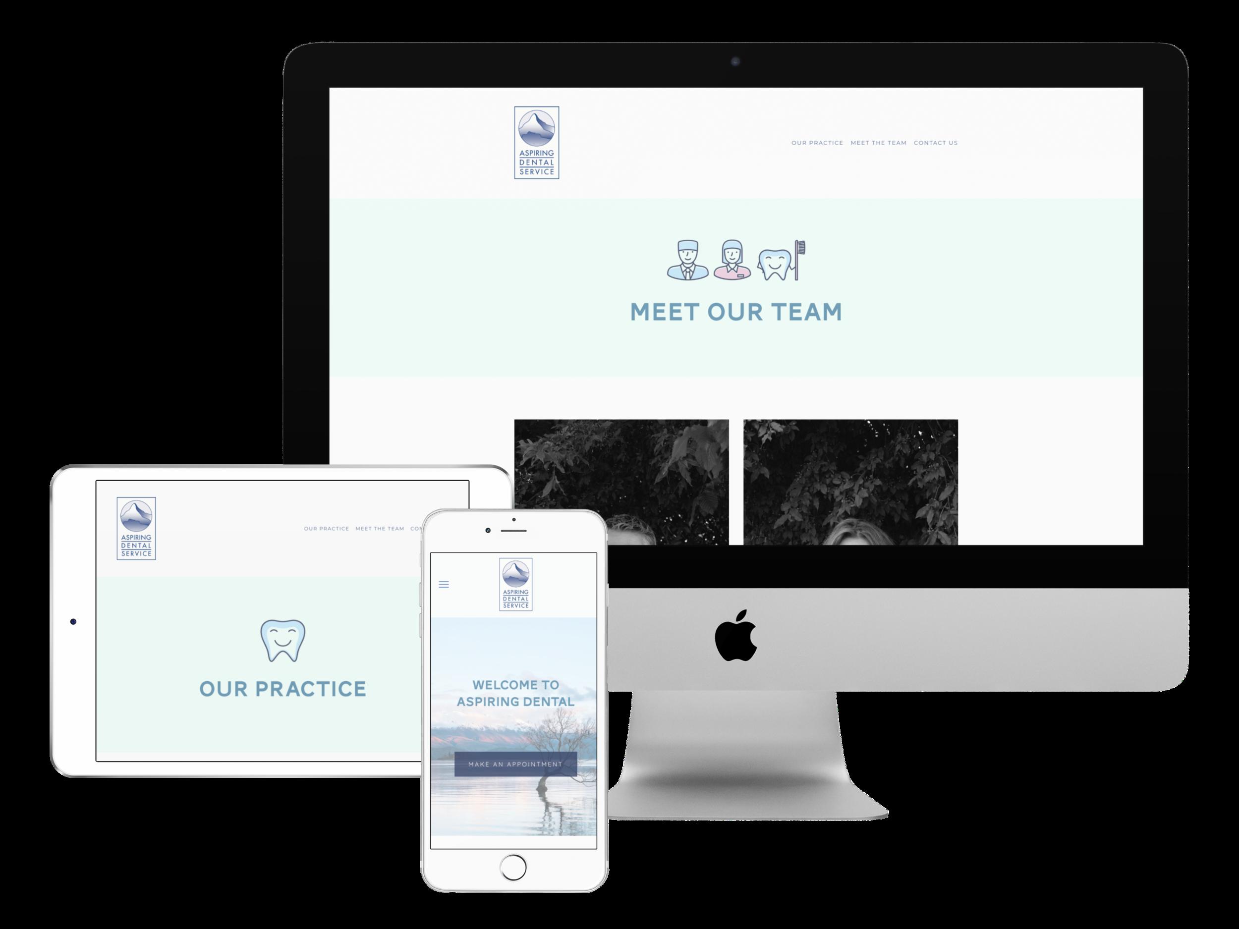 Squarespace website design for Aspiring Dental, Wanaka, NZ