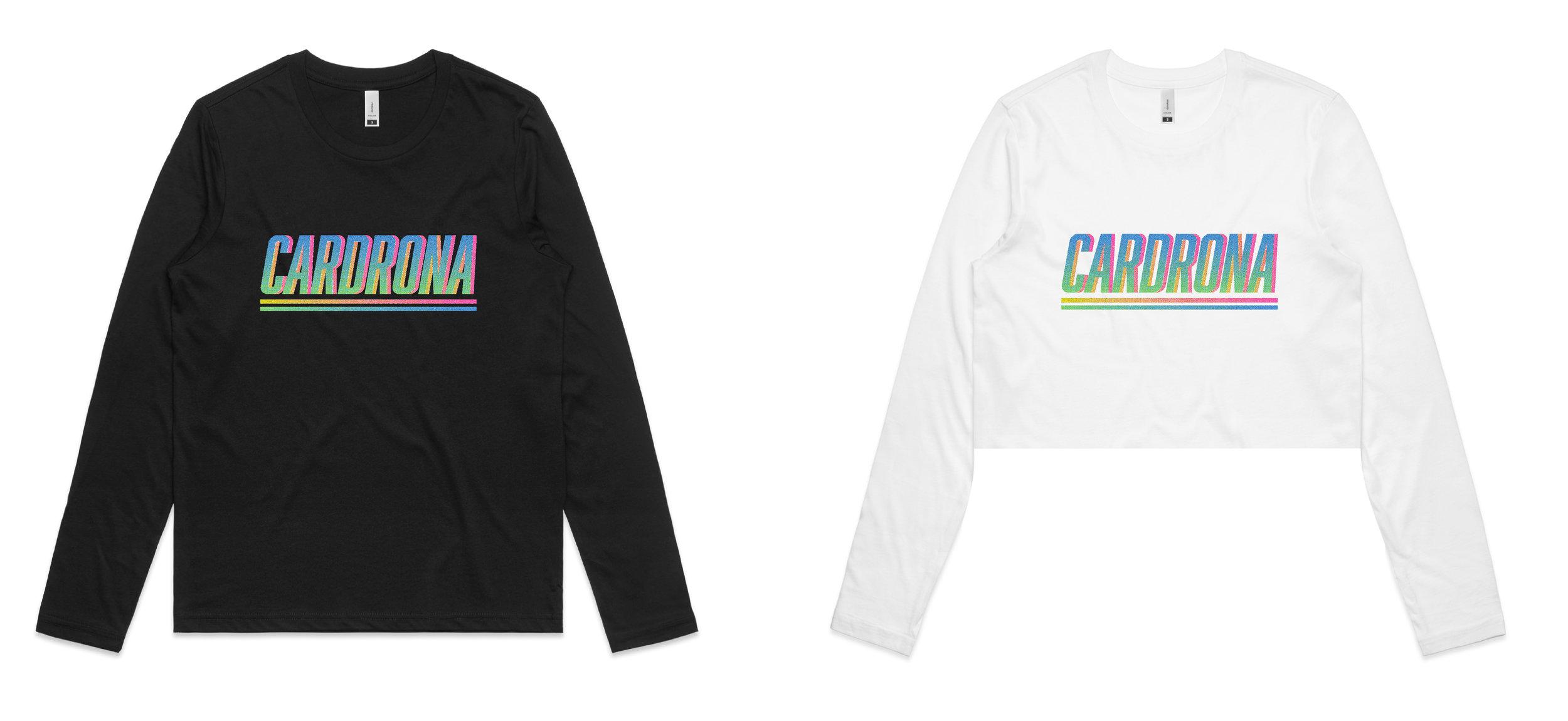 Fluro gradient design for Cardrona Alpine Resort, long-sleeve & cropped.