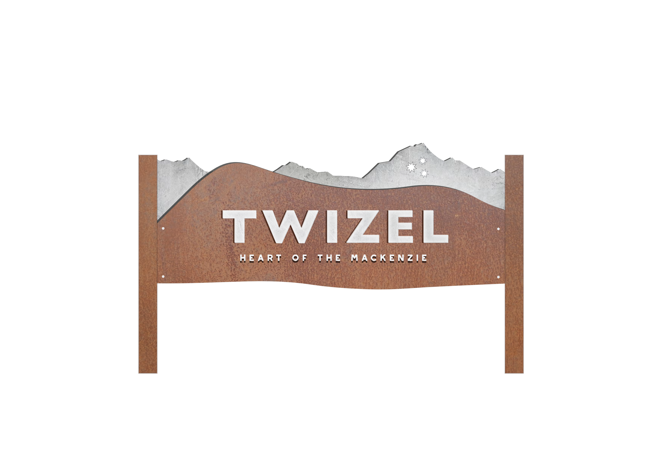 Twizel town welcome sign. Fabricated steel and aluminium. Installed 2017.