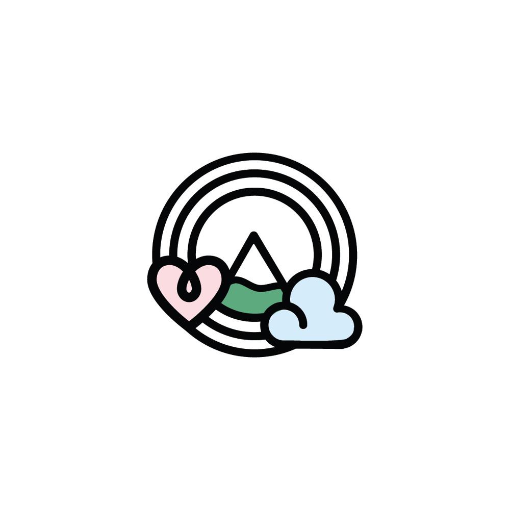 Heart, Head, Mountain logo design