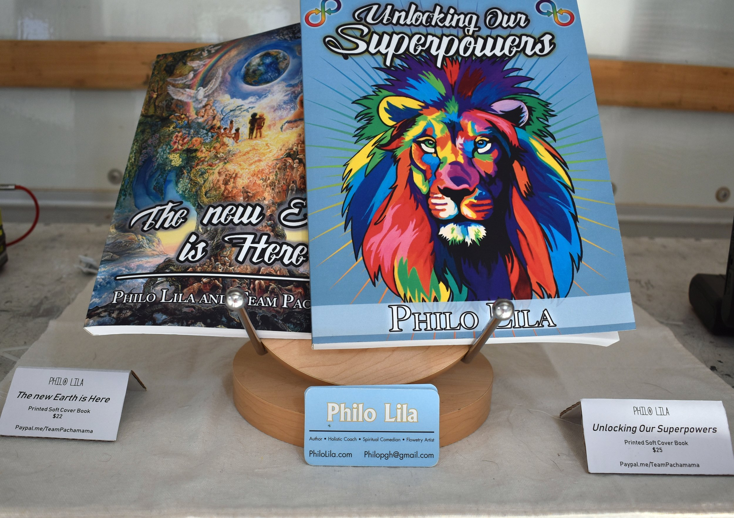 philo lila - The new Earth is HerePrinted Soft Cover Book$22&Unlocking Our SuperpowersPrinted Soft Cover Book$25Website