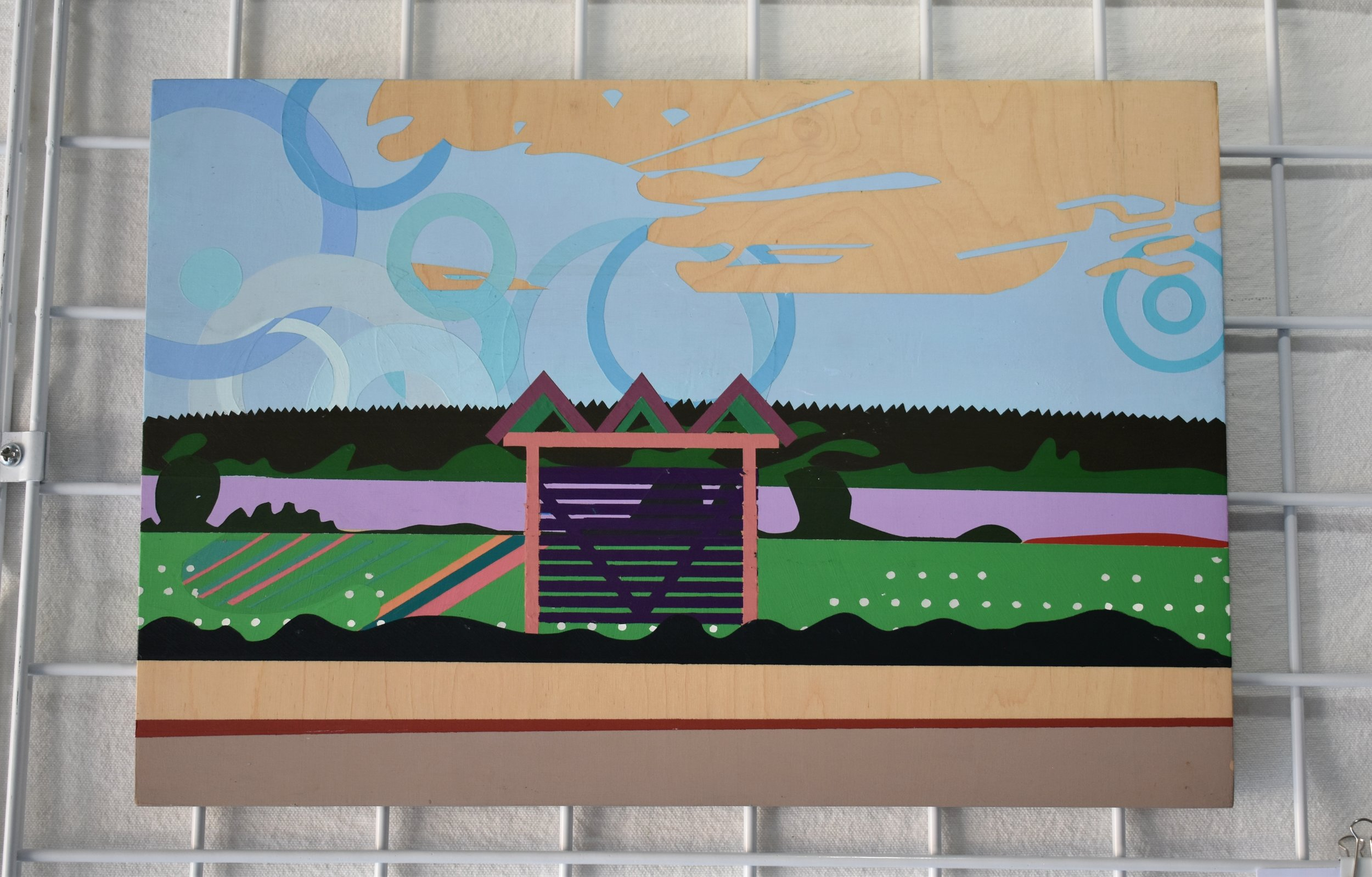 "kevin mack - Lake Parilanjarvi Bus StopAcrylic on Wood18""x12"" $250Website"