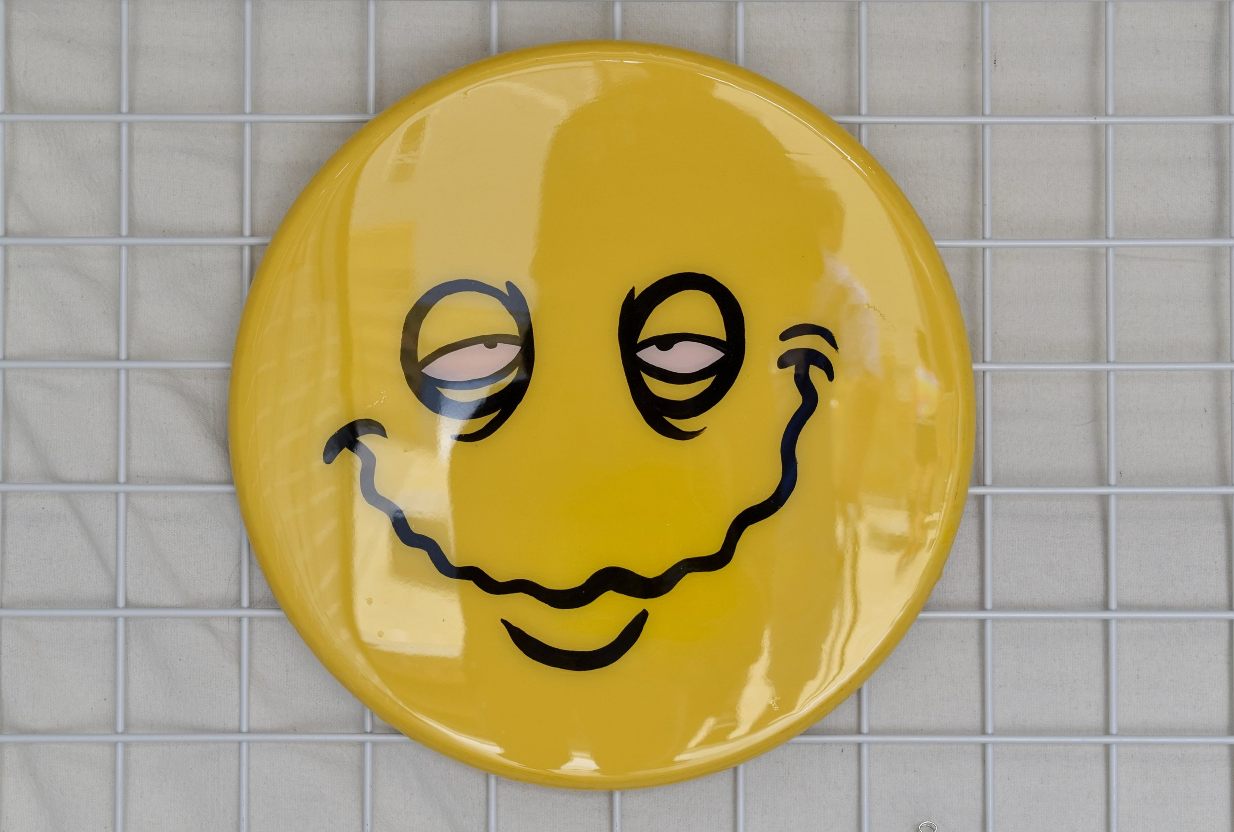 "dante lombardi - Smiley FaceAcrylic, Spray paint, & Resin on Wood18""x18"" $100Instagram"