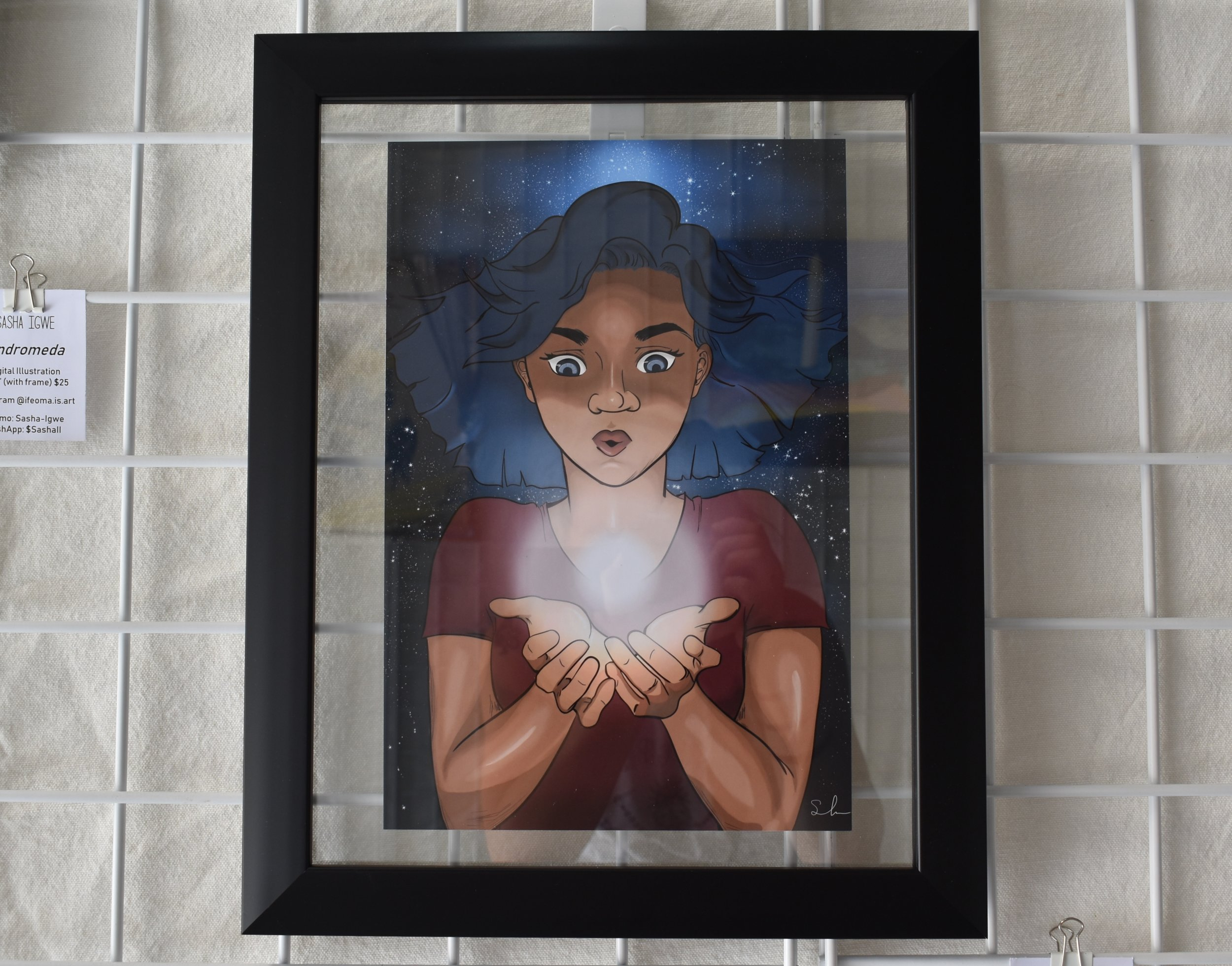 "sasha igwe - A Light WithinDigital Illustration 13""x16"" (with frame) $25Instagram"