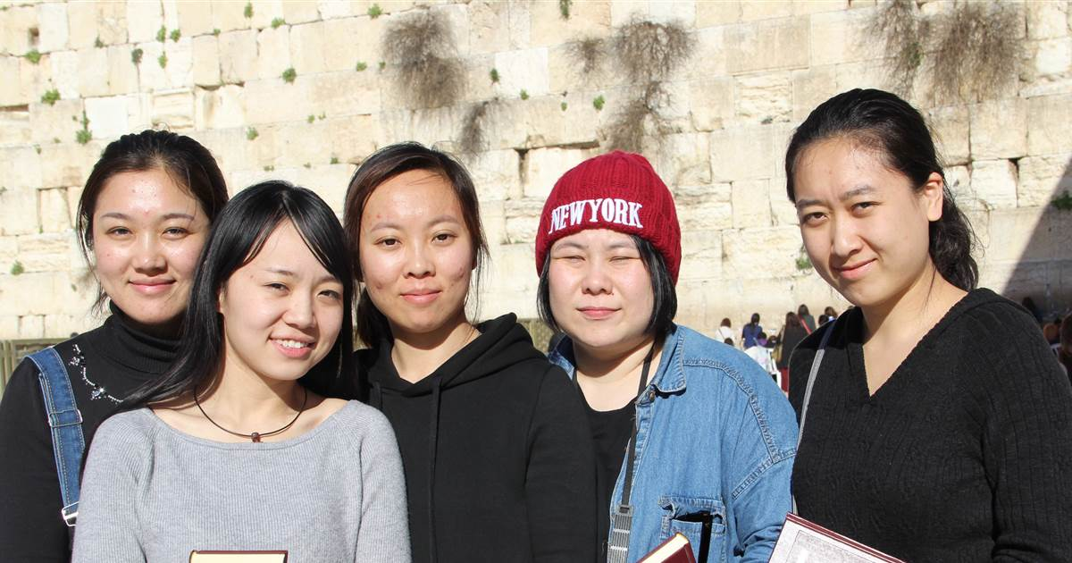 With the help of Shavei Israel, 5 young Kaifeng Jews made Aliyah - the return of diaspora Jews to Israel, in 2016.  [Shavei Israel]